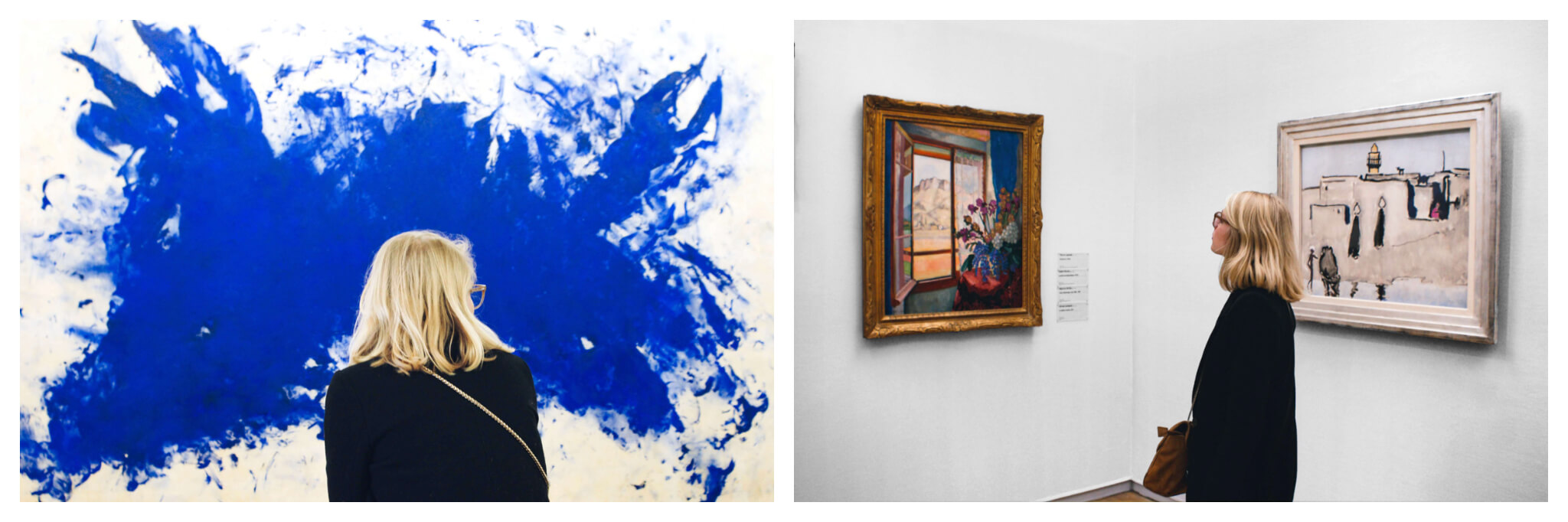 Left: A woman with short blonde hair wearing glasses, a black jacket, and cross-body bag is standing in front of a painting by Yves Klein in Centre Pompidou. The painting is an abstract expressionist piece and is bright blue. The photo is taken from behind. Right: the same blonde woman is looking at a framed painting of flowers in front of a window in Centre Pompidou. To her right is another framed painting.