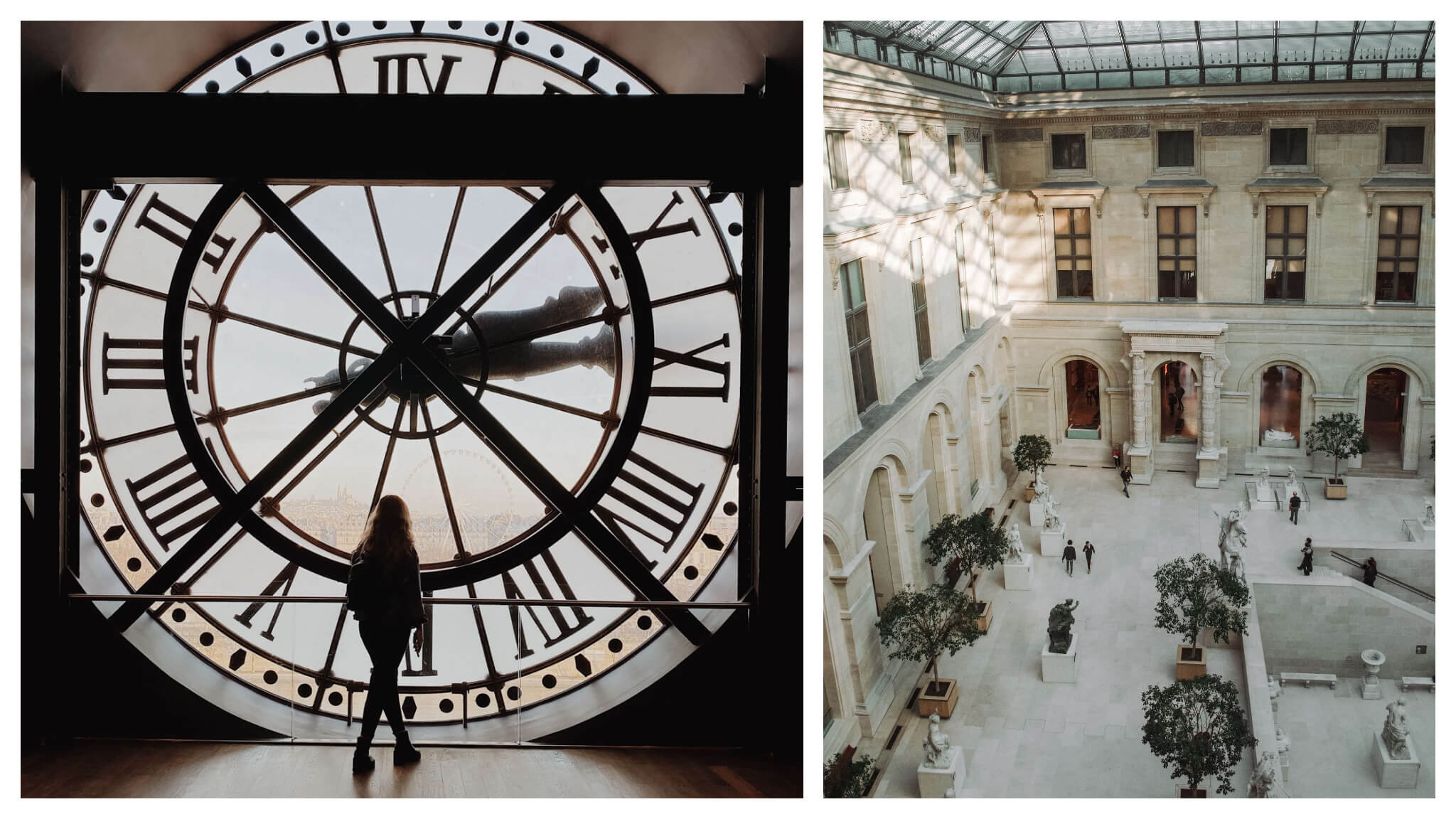 Left: A woman standing in front of a window at the D'Orsay Museum. The window is actually a large clock face, with Roman numerals and clock hands. The photo is taken from behind and she and the clock face are silhouetted. Right: the inner sculpture courtyard at the Louvre Museum. The photo is taken from up high, looking down. There are archways and windows along the walls. There are trees in pots, white sculptures, and some people. The sun shines in from the glass roof onto the wall.