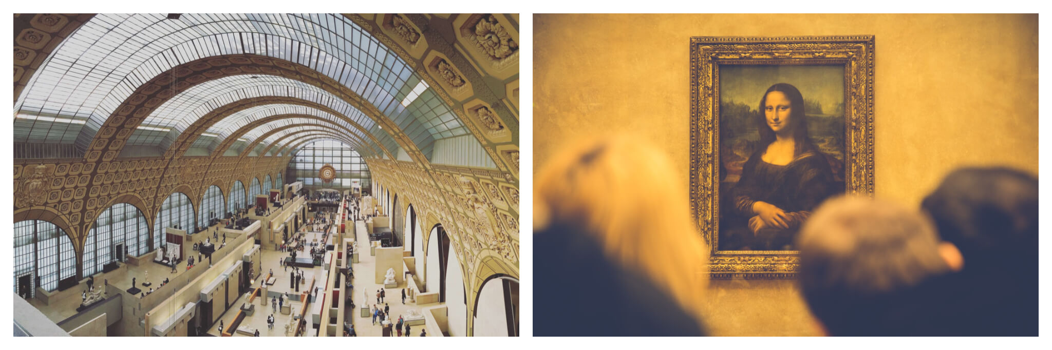 Left: the interior of D'Orsay Museum. It's a long room with an arched largely glass roof. The walls are engraved with a repetitive flower motif. The photo is taken from up high, looking down. There are sculptures along the first floor and the mezzanine above it, and there are lots of people. Right: Leonardo de Vinci's Mona Lisa painting hanging in the Louvre Museum. There are some people in front, looking at the painting. Their heads are out of focus.
