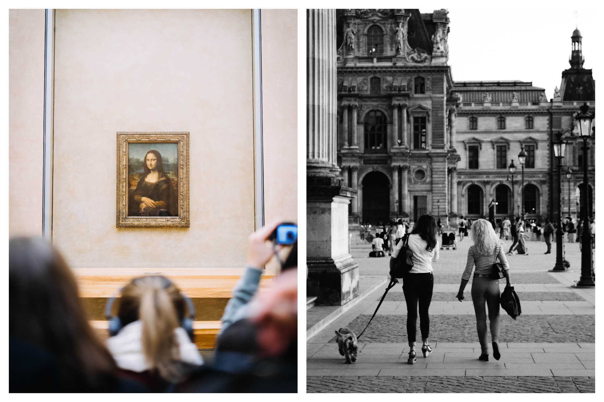Left: Leonardo de Vinci's Mona Lisa painting hanging on a wall in the Louvre Museum with people standing in front of it. One is listening to an audio device, another is taking a photo of the painting. They are out of focus. Right: a black and white photograph of two women walking outside the Louvre Museum. One is walking a dog. The photo is taken from behind.
