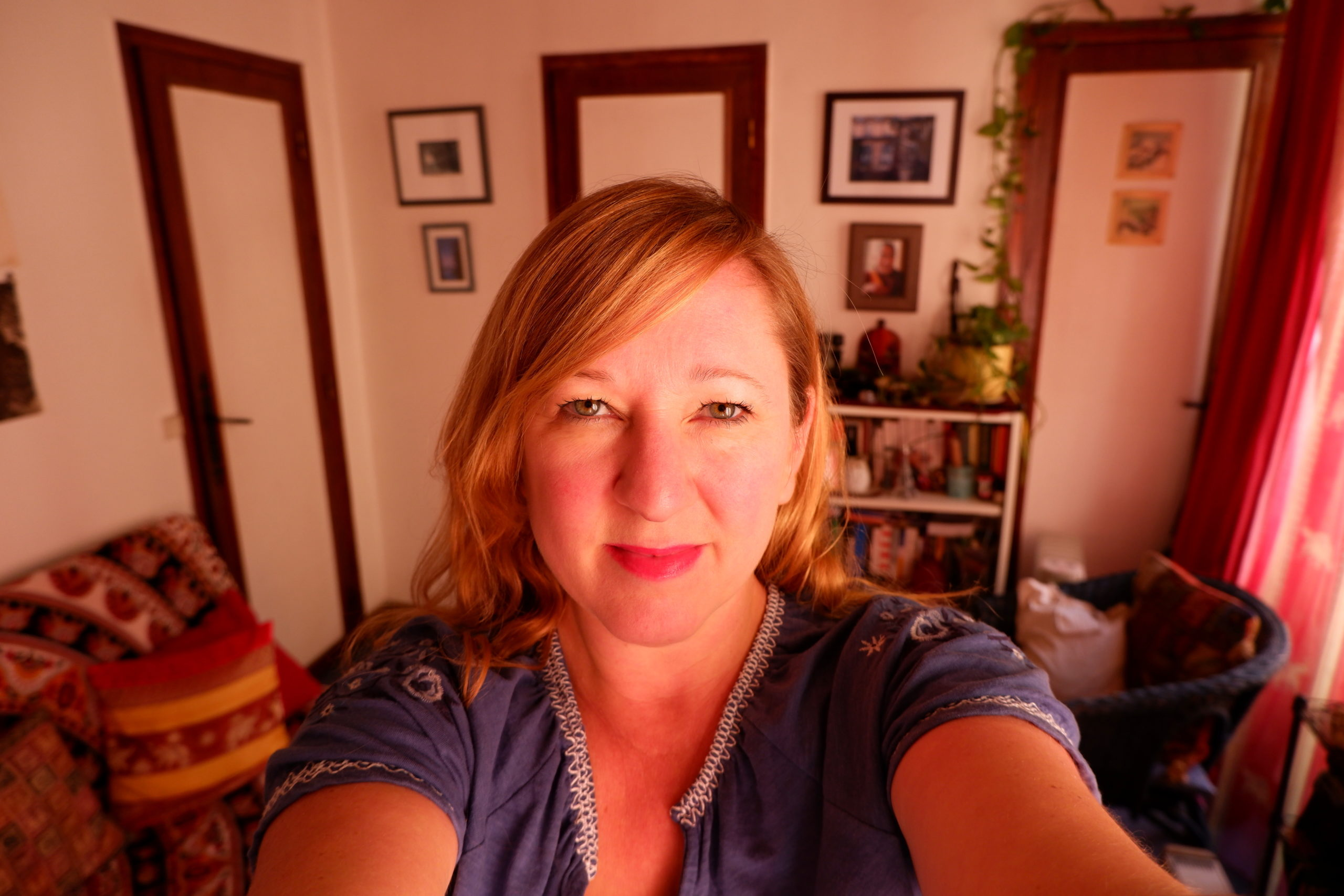 Lily Heise takes a selife at home in Paris during the nationwide lockdown.
