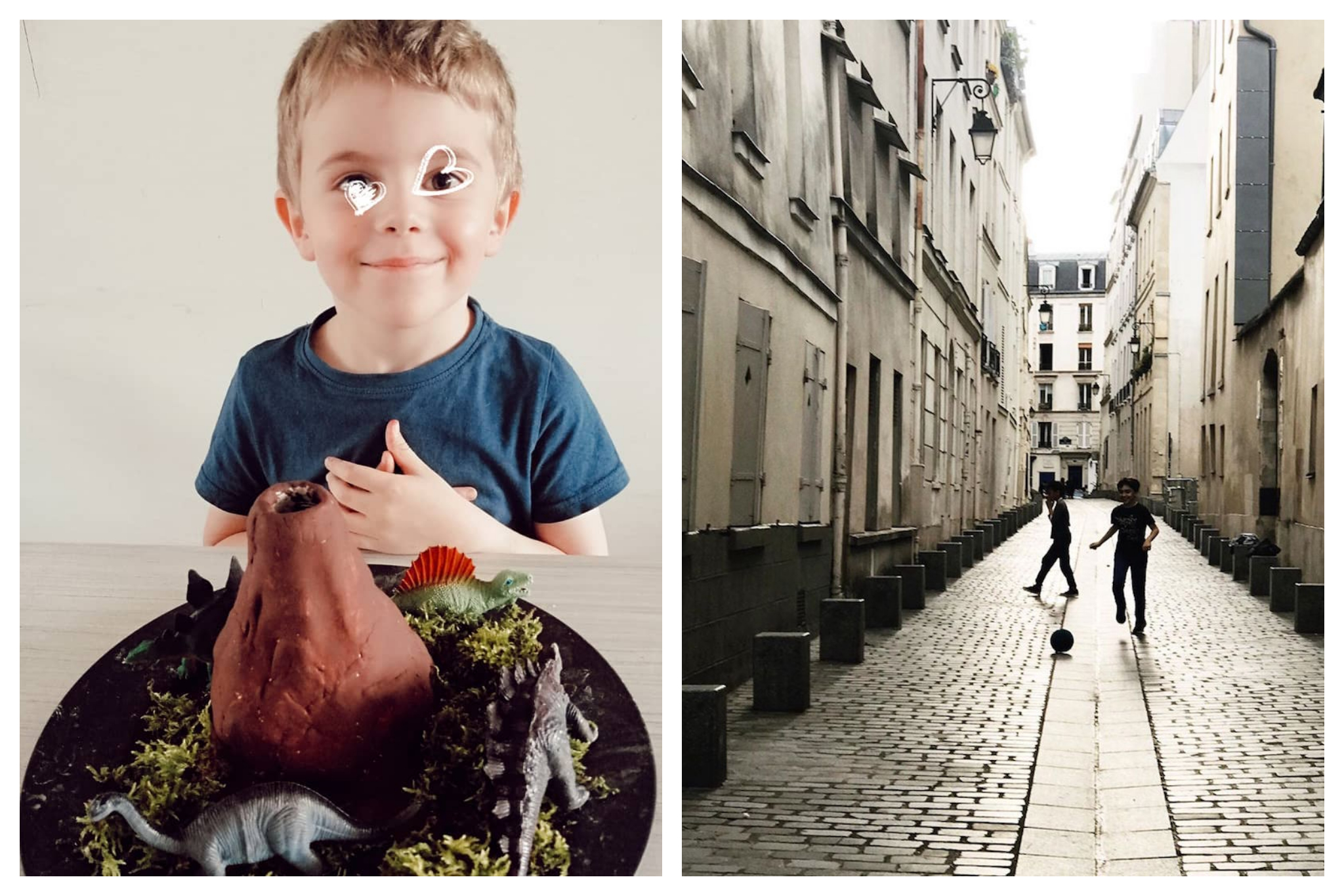 Left: A child smiles, doodles of hearts drawn in white over his face, Right: Two children play a game of soccer in an alleyway in Paris