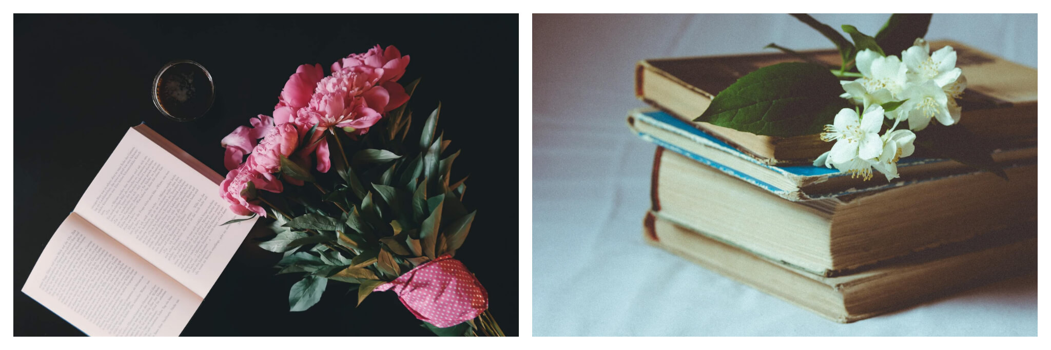 Left: An open book and bouquet of pink flowers lay next to each other atop a black surface, Right: Books are stacked on top of each other with a white flower resting on top.