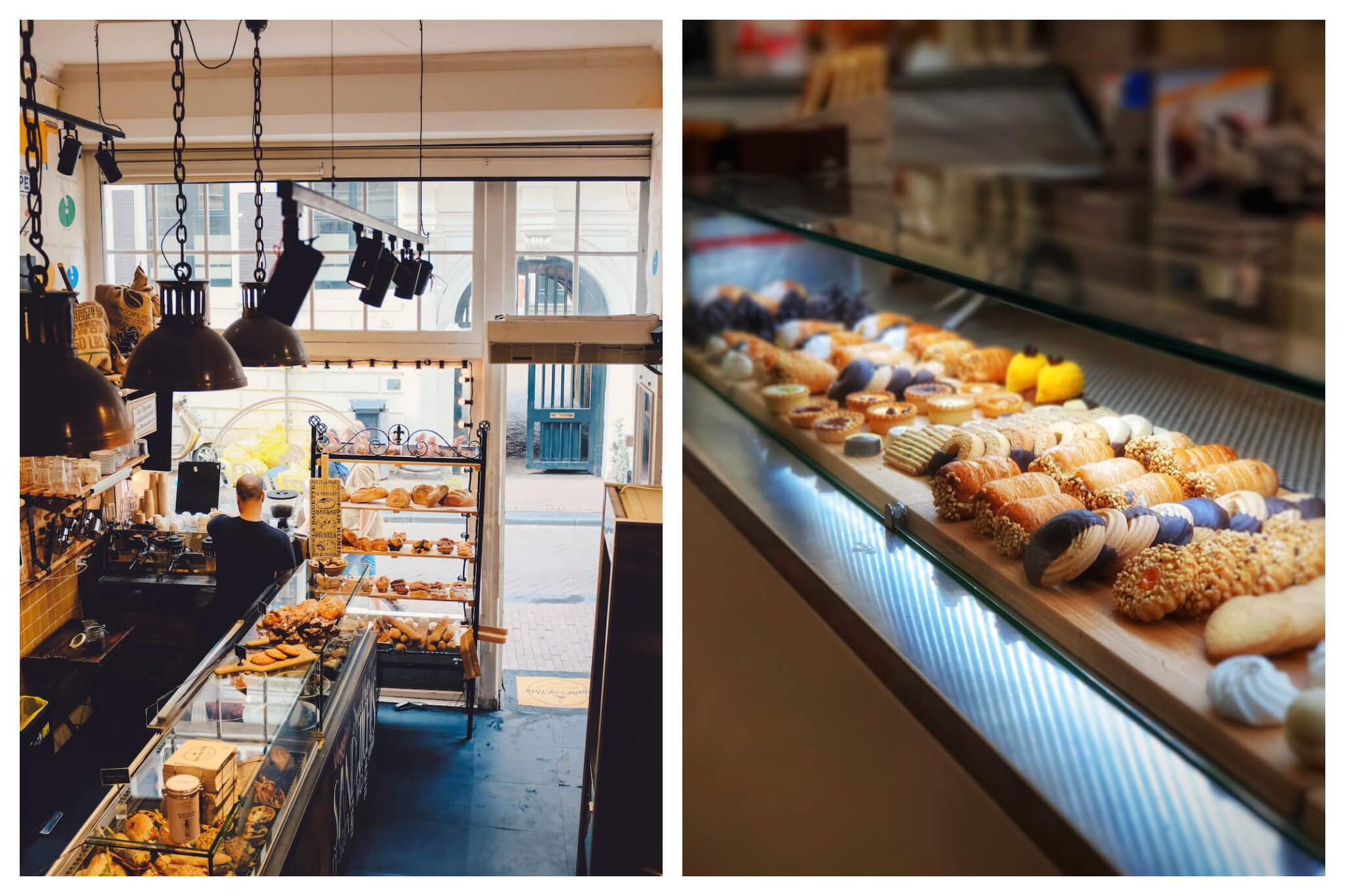 Left: On overhead view of the inside of a bakery from the inside looking out, baked goods and assorted products can be seen in the shop, Right: Fresh baked pastries and desserts lay next to each other under a bright light on a counter.