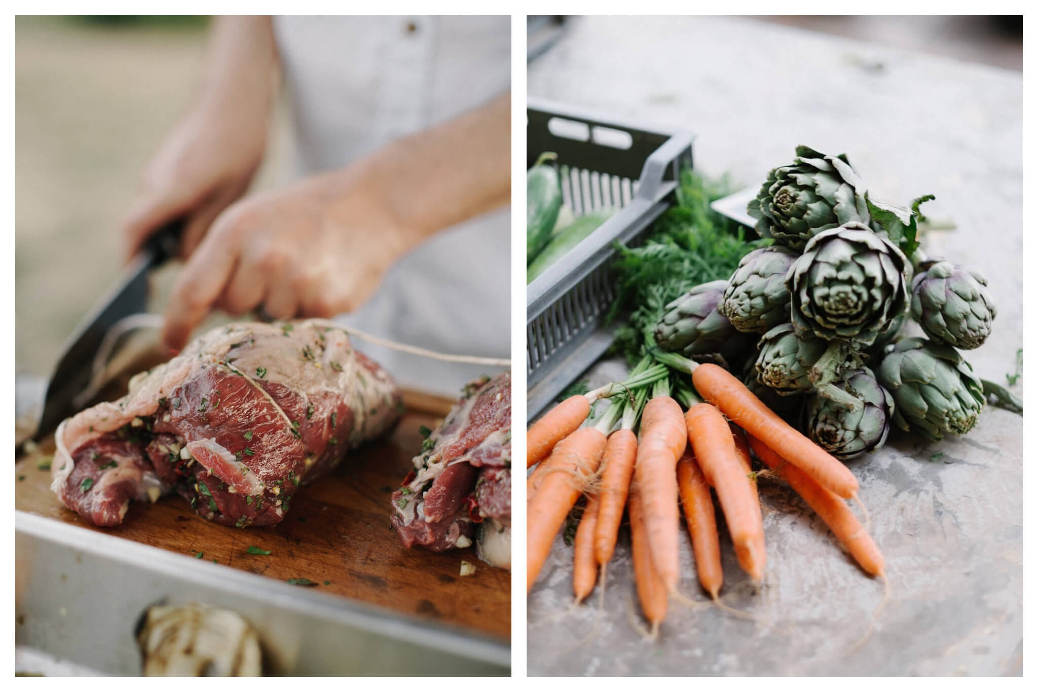 Left: A butcher slices a piece of fresh, seasoned raw meat with a butcher's cleaver, Right: Fresh produce, including carrots and artichokes, lay together on a flat surface.