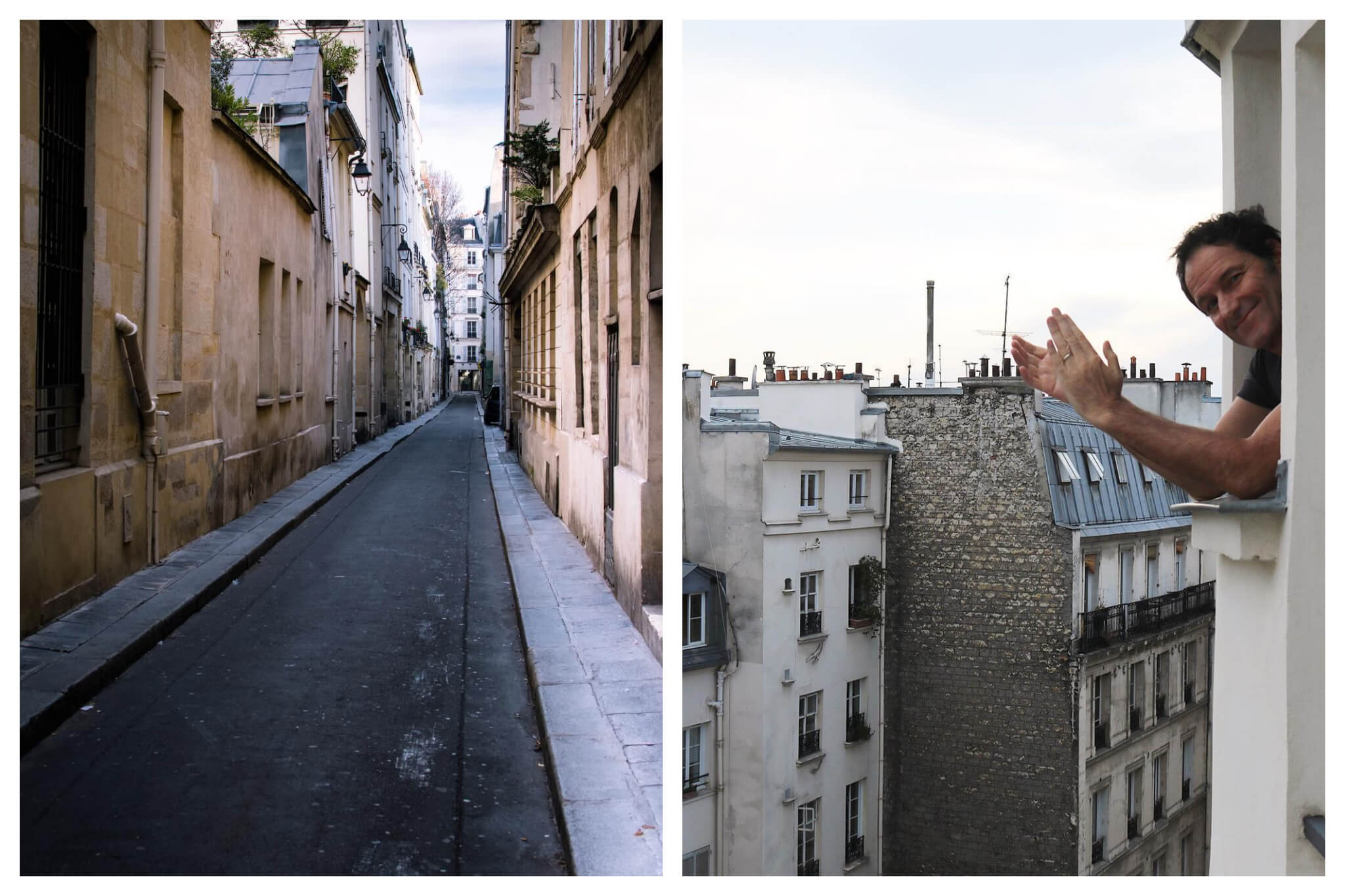 Left: An empty street in Paris, with apartments lining the sides of the row. There are no cars in the street and no people on the narrow sidewalks. Right: A man smiles and claps for the healthcare workers while looking out his Paris apartment window, apartments and rooftops can be seen in the background.