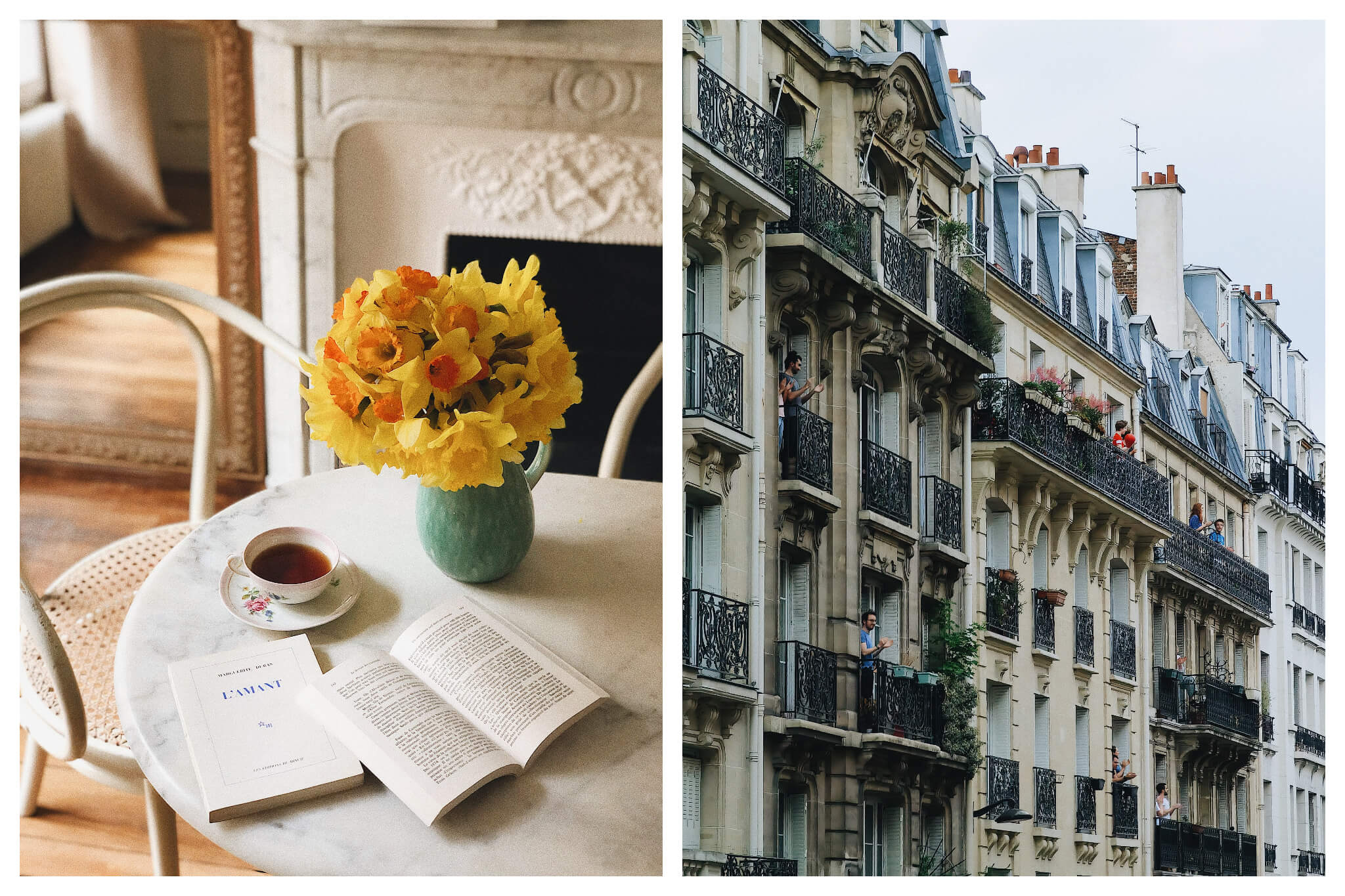 Left: Books, tea, and beautiful yellow flowers inside a blue vase sit atop a white marble table, Right: A view of Parisian apartments on a gray day.