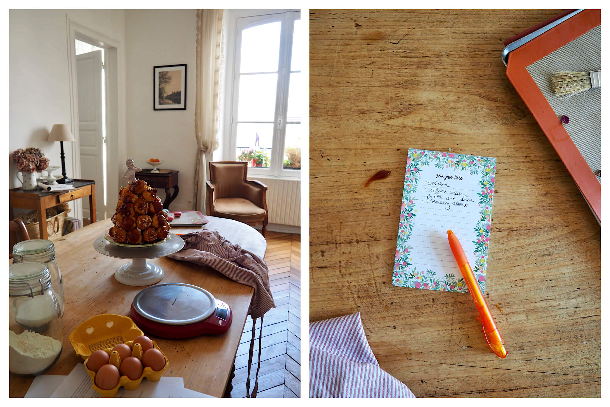 """Left: A croquembouche sits next to baking ingredients, including a jar of flour and and a case of eggs, Right: An orange pen sits atop a floral-printed notebook that has words scribbled on it, including """"cream"""""""
