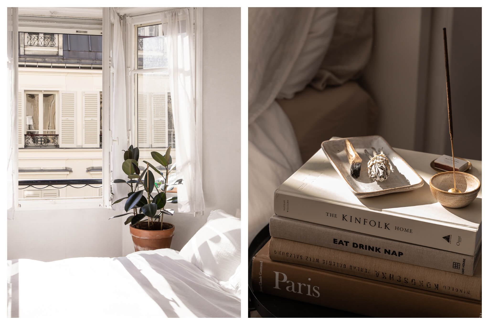 Left: Light comes into Roxanne's apartment on a sunny day onto her white bedspread, a plant sits next to her window which opens out to a view of a Parisian apartment, Right: incense sits atop a stack of books, including The Kinfolk Home and Eat Drink Nap.