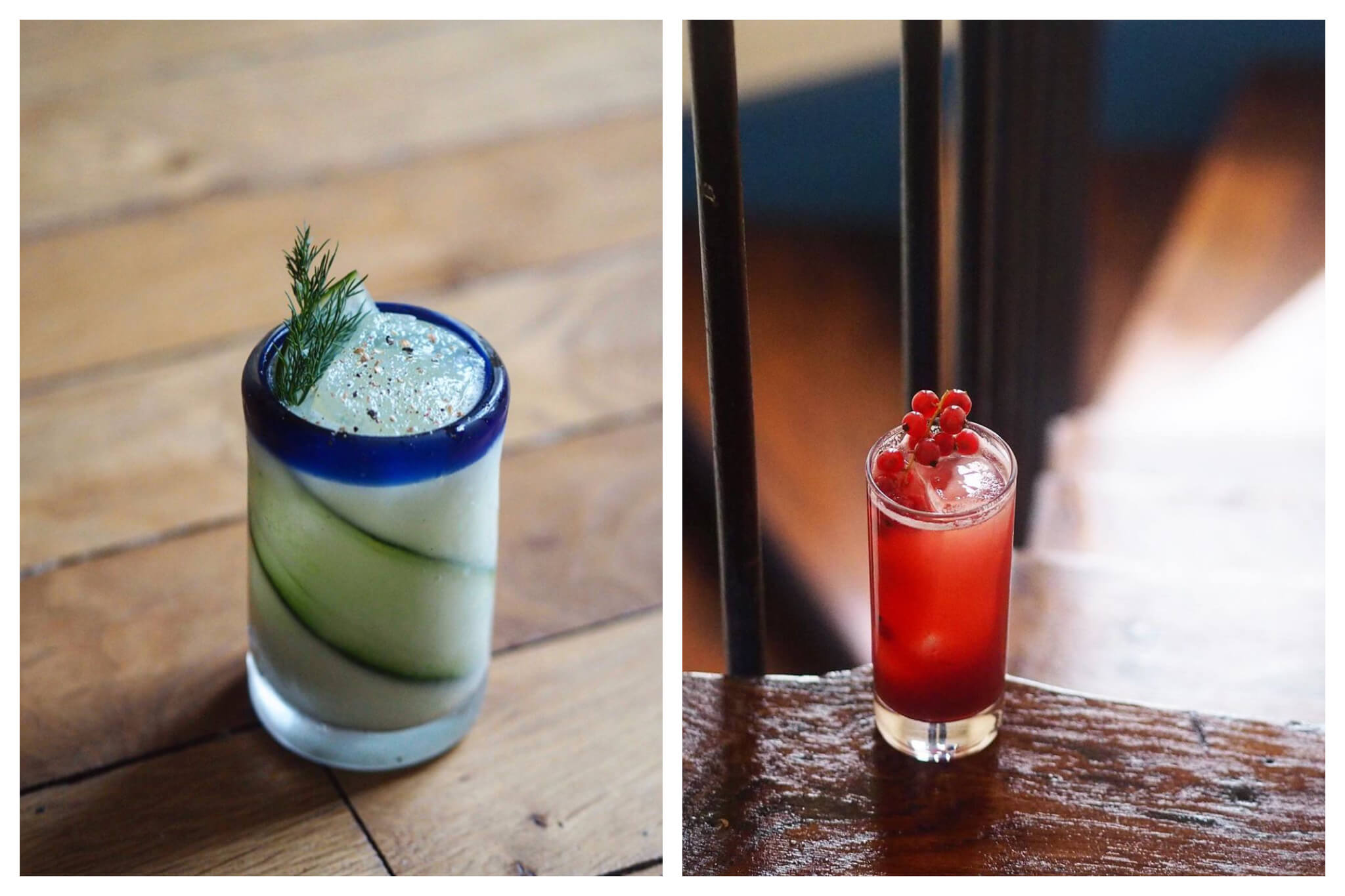 Left: a cocktail with a strip of cucumber inside on a wooden background.  Right: a red cocktail with berries on top sitting on a step of a wooden staircase.