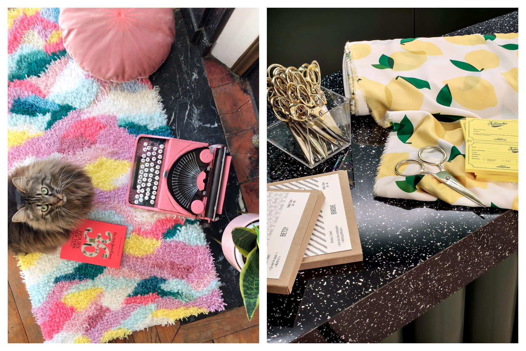 Left: a multi-colored crochet rug on the floor. There is a pink circular cushion, a pink type writer, a pot plant, a book, and a grey long-haired cat looking up at the viewer. Right: a roll of fabric with yellow lemons on it on a black and white speckled table with a box of scissors, some pattern boxes, and yellow 'retouche' forms.