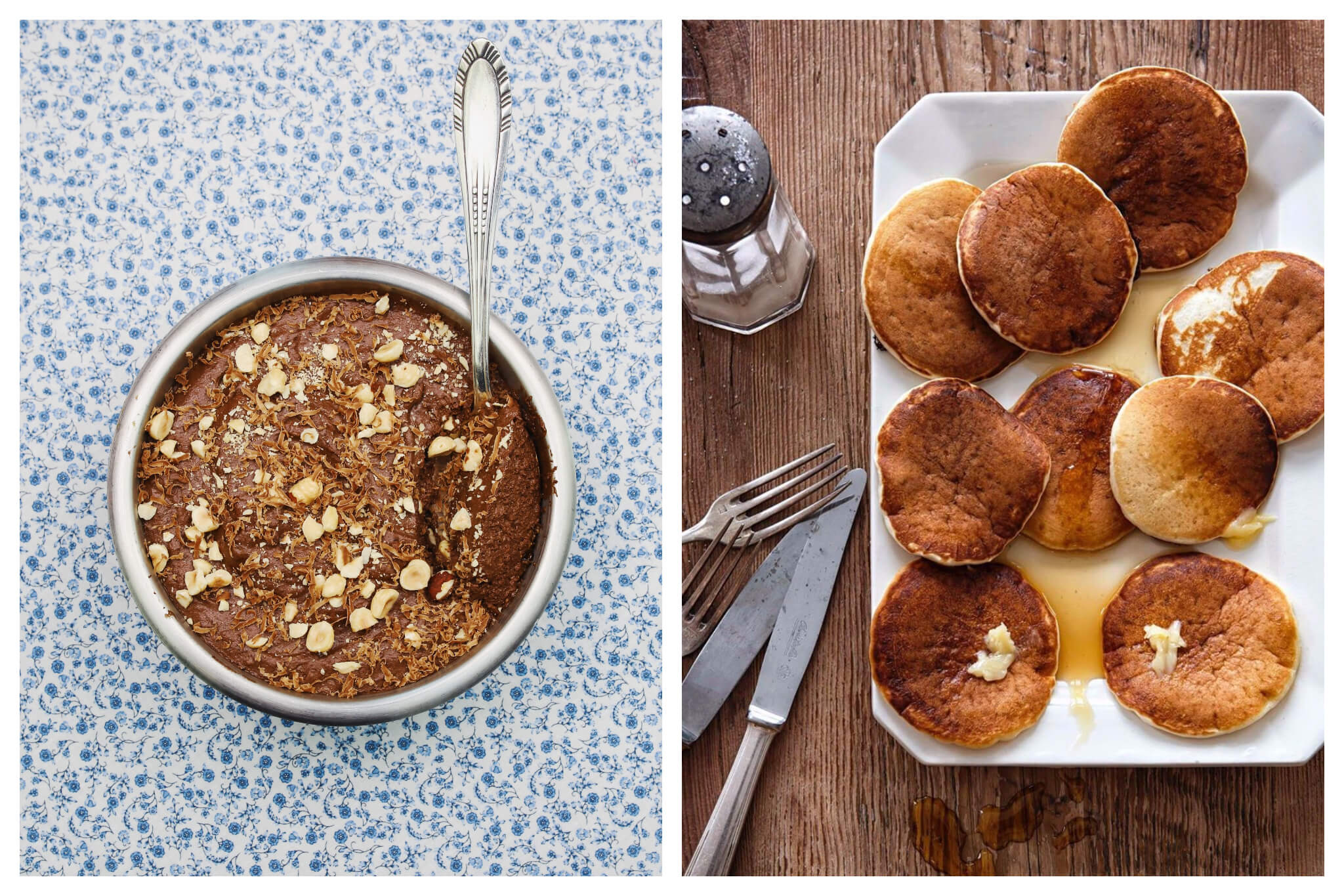 Left: a bowl of chocolate mousse on a blue and white floral background, with a spoon inside, and peanuts sprinkled on top. Right: a plate of pancakes on a wooden table with silver cutlery and a sugar shaker. The pancakes are on a white plate with maple syrup and butter on top.