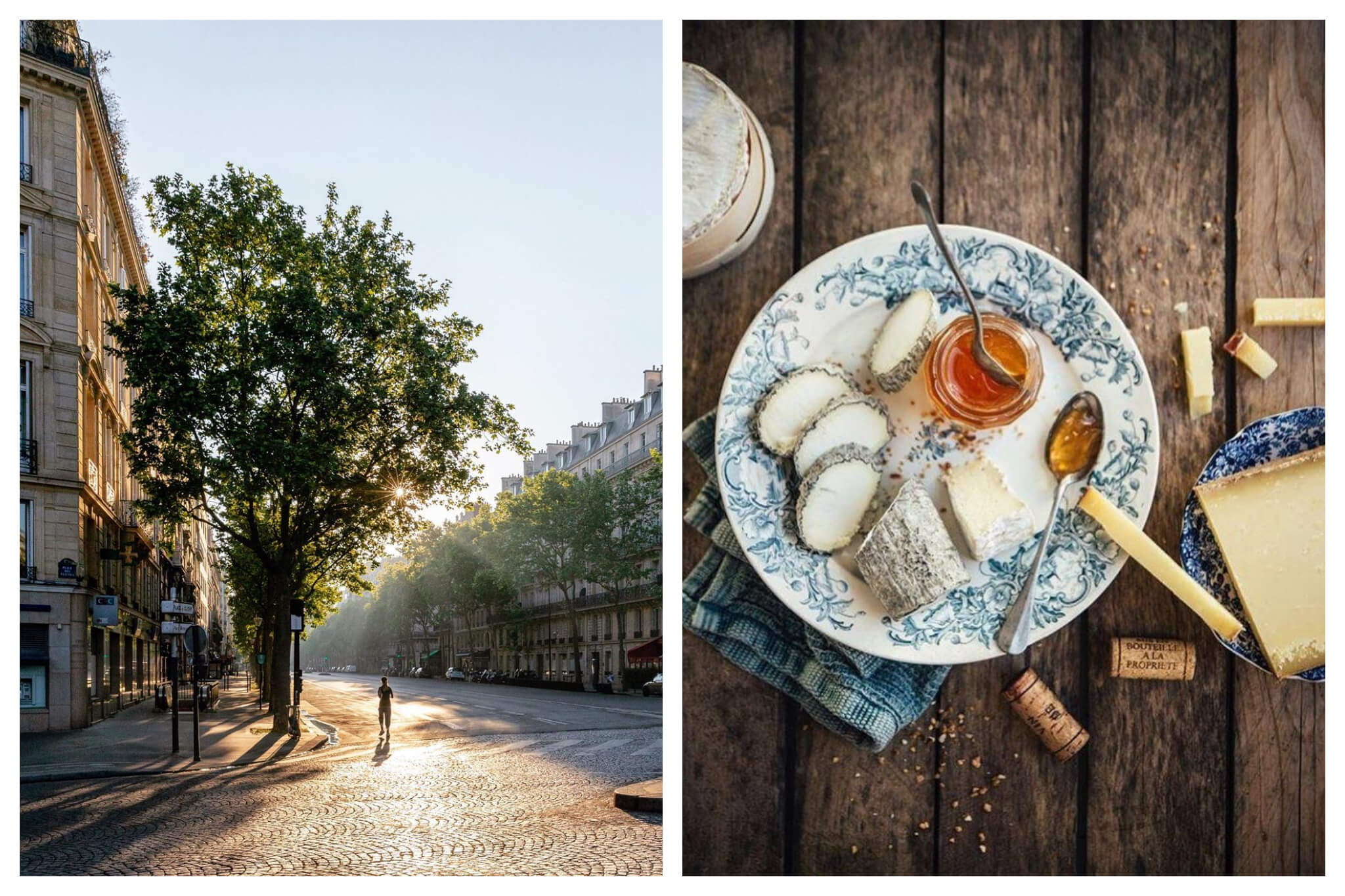 Left: A jogger runs down an empty street in Paris in the early evening, Right: a bouche of goat cheese, jar of confiture, wine corks and a slab of comté cheese sit on blue plates atop a wooden.
