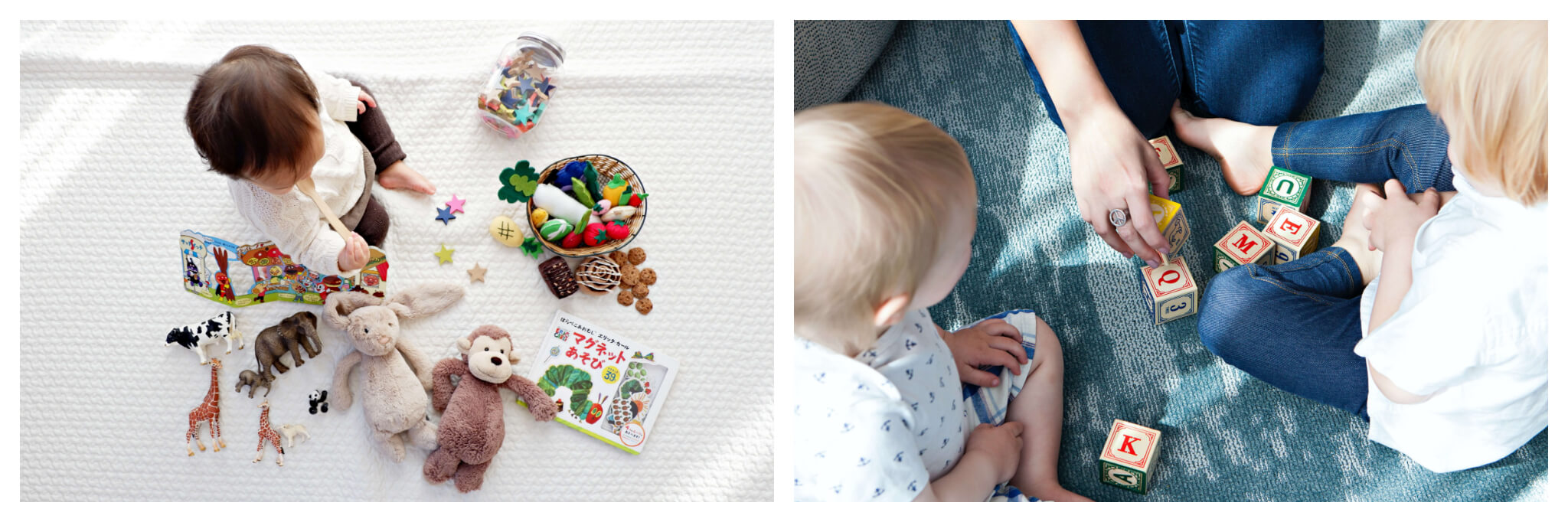 Left: An overhead shot of a baby playing with stuffed animals, books, and plastic animal toys atop a white surface, Right: A parent and two young children play with letter blocks.
