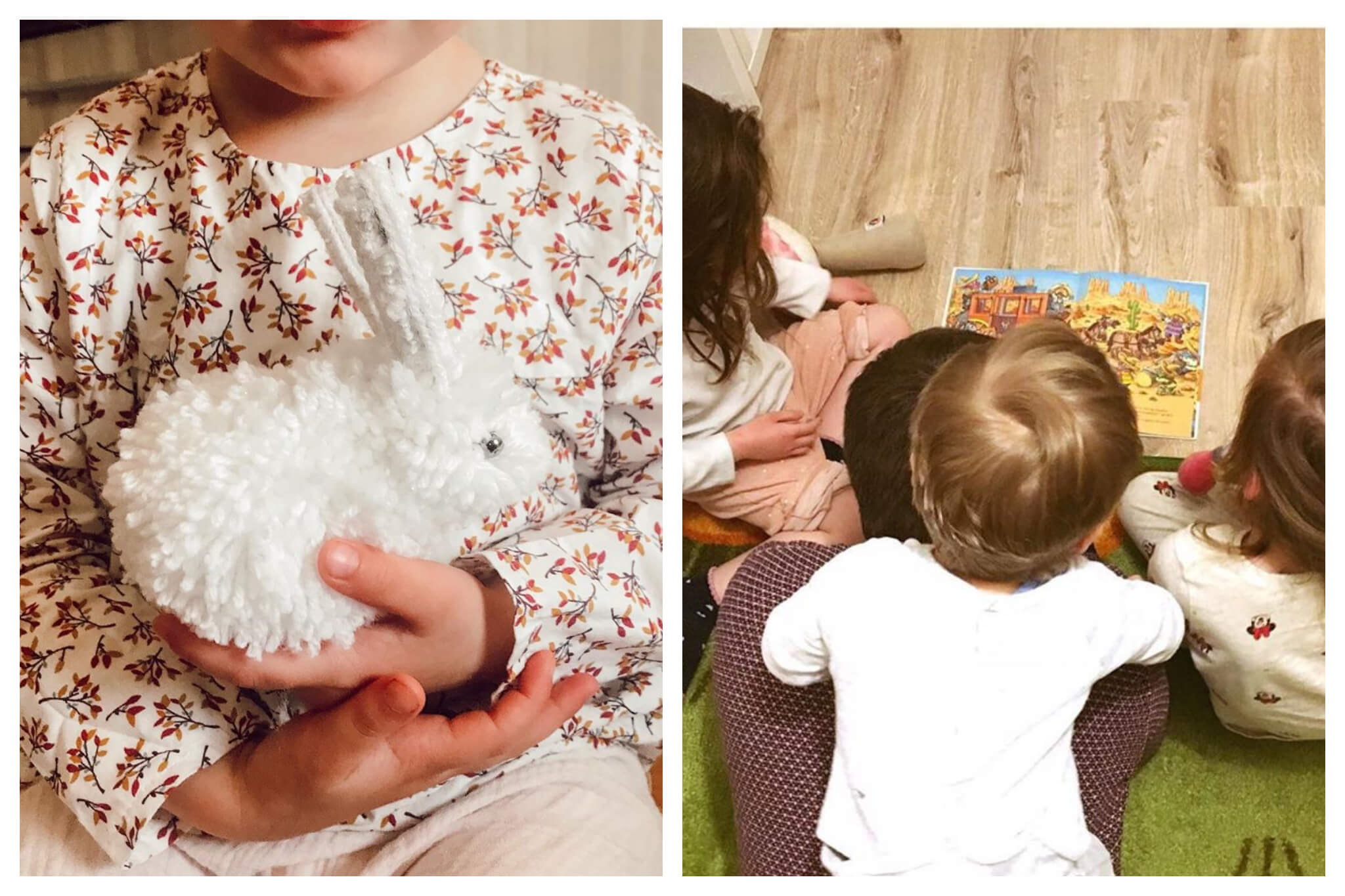 Left: A child holds a white stuffed animal rabbit in their hands, Right: A person reads a story to three children who are on top and around him.