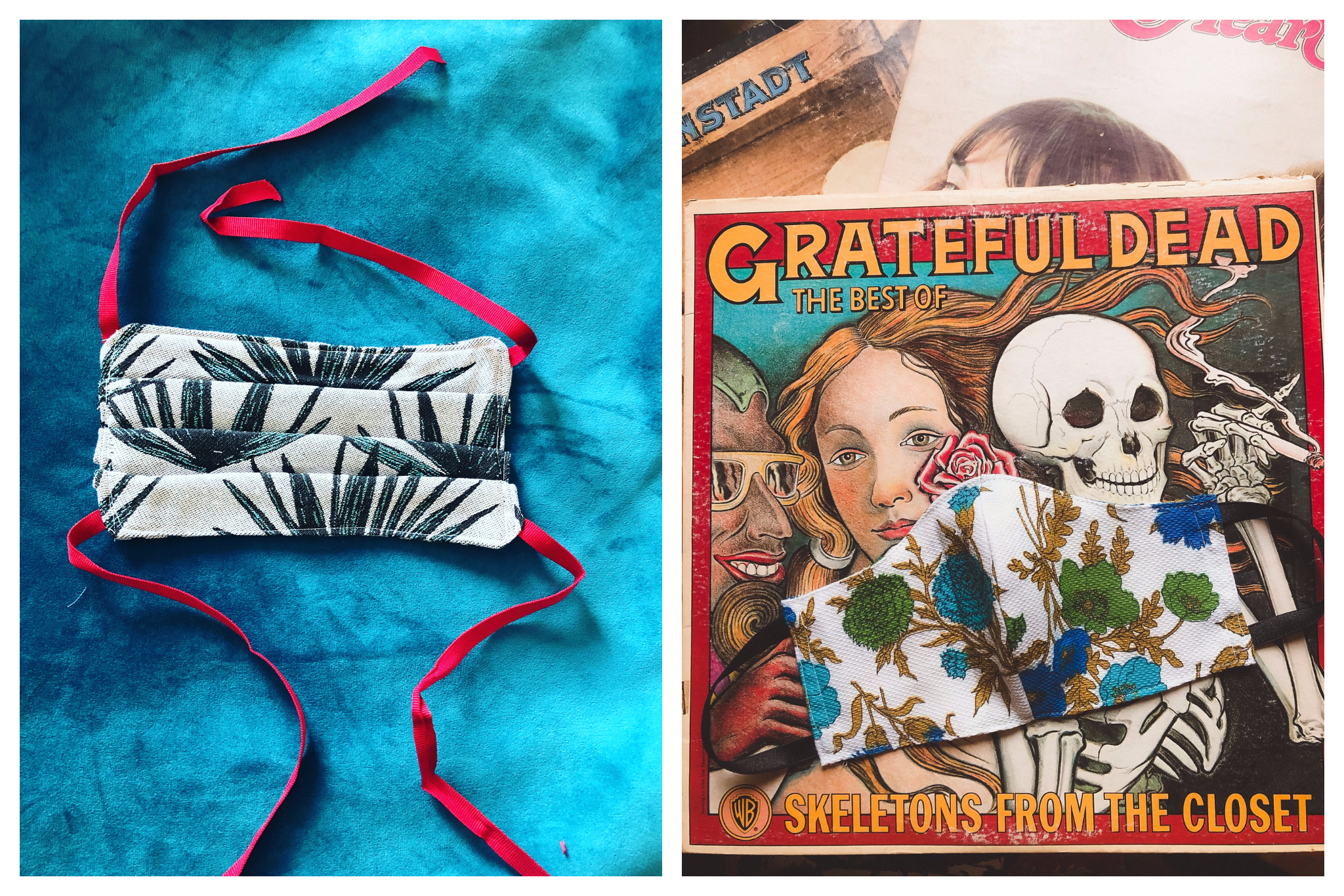 Left: a white and green face mask with a plant motif and with red straps on a blue velvet background. Right: a white blue and green face mask sitting on an old record, Skeletons from the Closet: The Best of Grateful Dead.