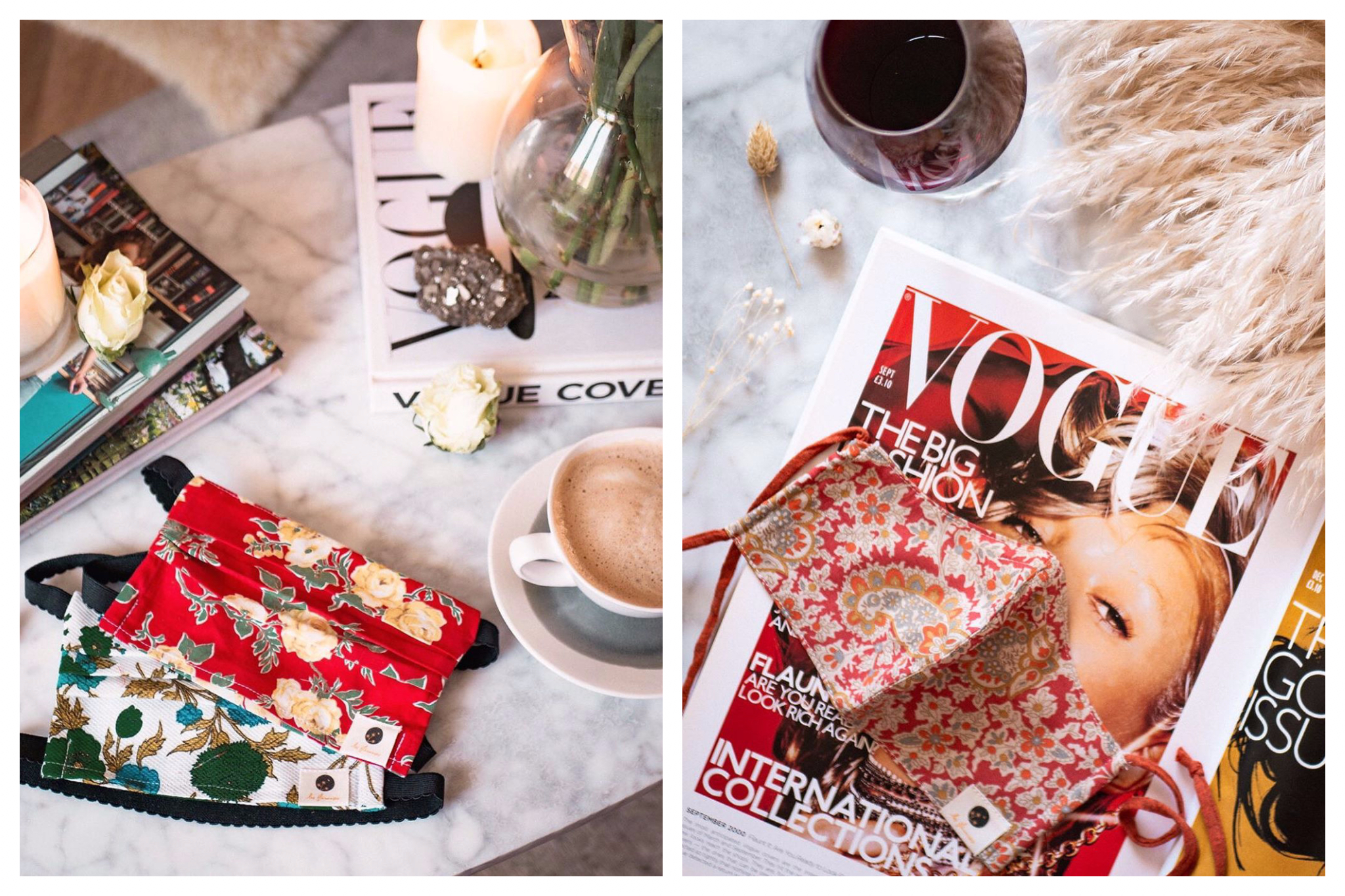 Left: a white blue and green floral face mask and a red and yellow floral face mask on a marble table next to a coffee, some magazines, candles and flowers.  Right: a red and orange and beige floral face mask on a marble table with a Vogue magazine, dried flowers and a black tea.