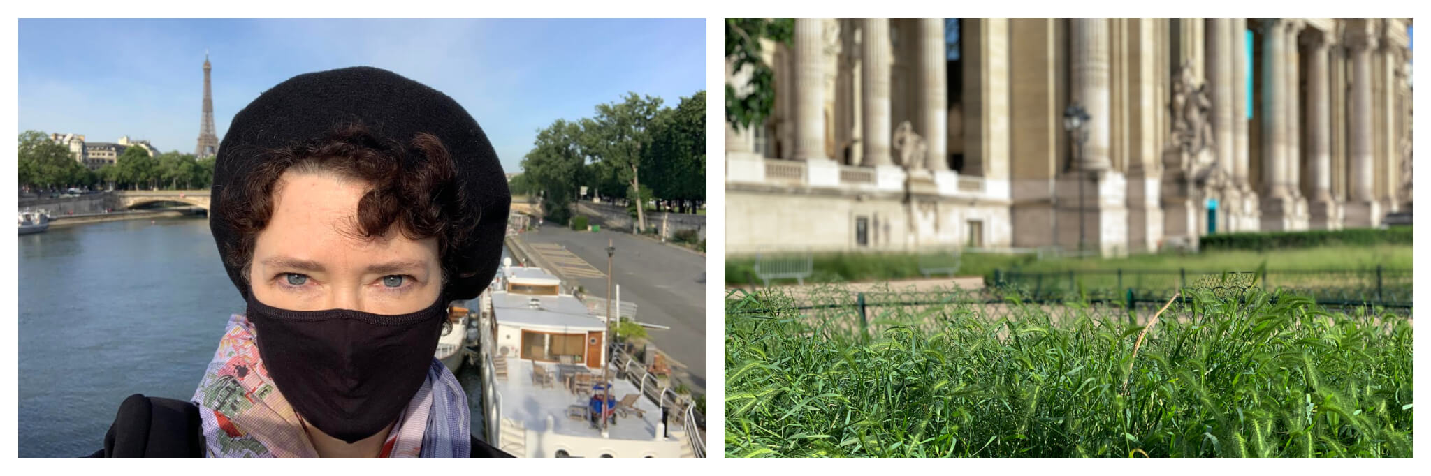 Left: Yvonne wearing a black face mask on her walk through Paris, the Seine and Eiffel tower are visible in the background / Grass grows in Paris as parks remain closed, a building is visible in the background