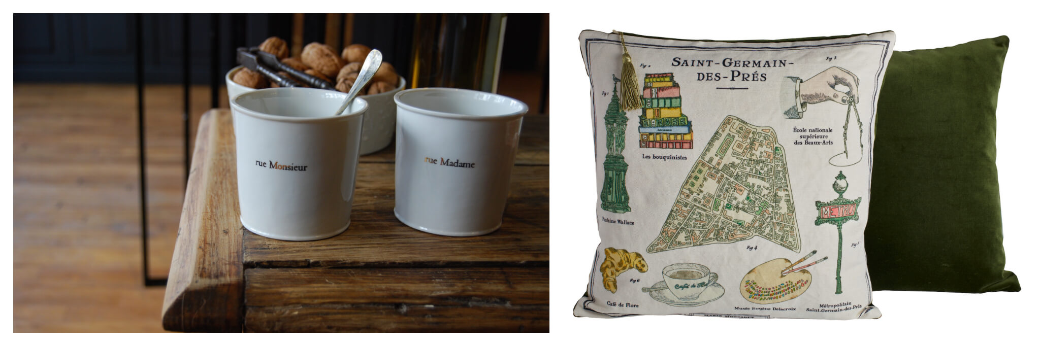 """Left: Two white mugs (also called timbales) with select Paris street names, """"rue Monsieur"""" and """"rue Madame"""" engraved in gold, Right: The green back of a  pillow sits behind the front of a pillow, which has various Paris-related designs on it, like a croissant and metro sign"""