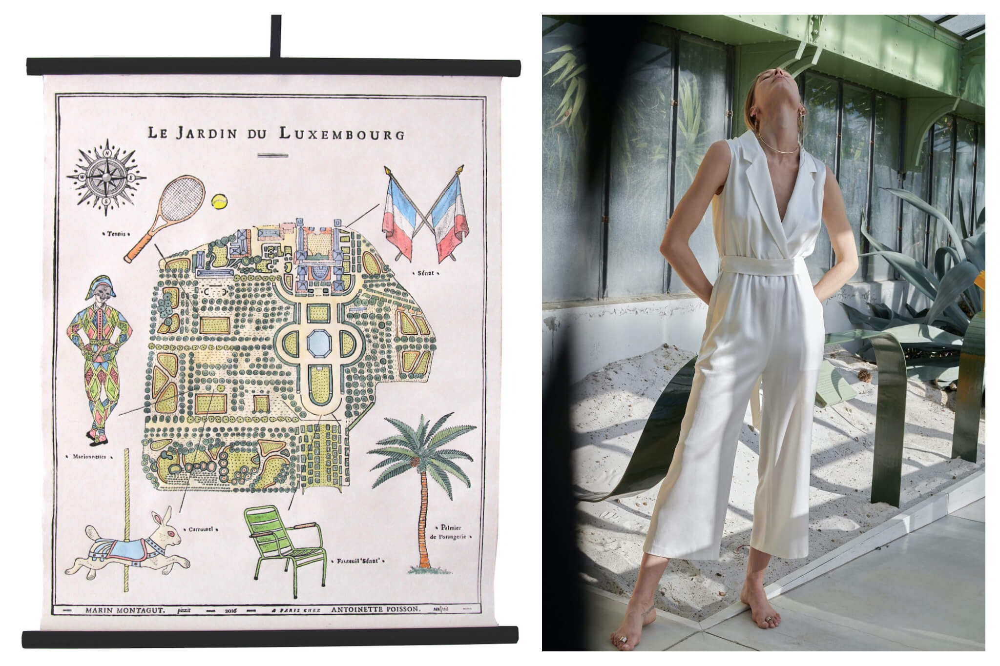 Left: A poster shows Paris related items, including the Jardin du Luxembourg and French flags, Right: A woman wearing a long white jumpsuit poses with her hands in her pockets and her face looking up to the sky