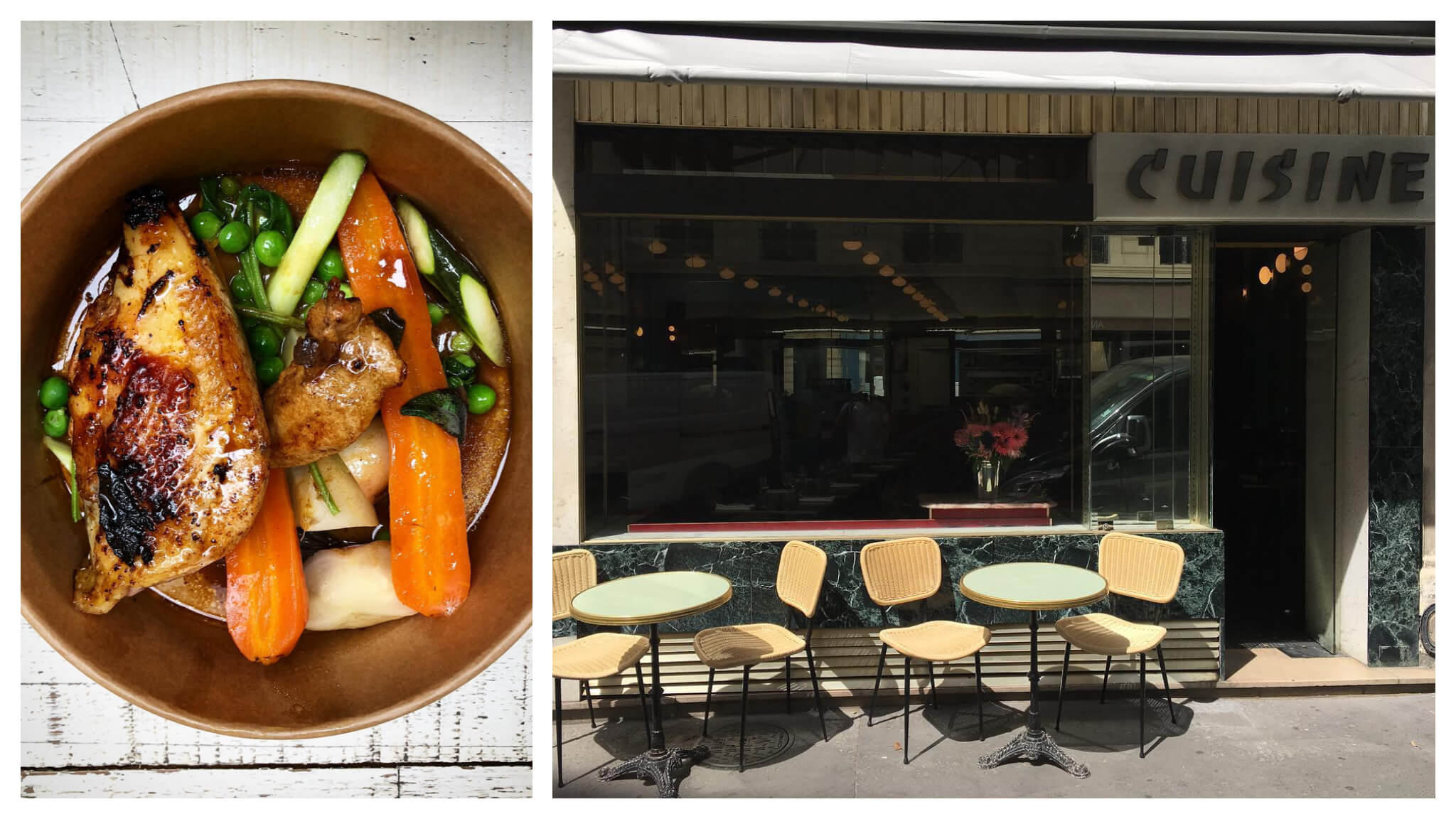 Left: a chicken and vegetable bowl from Les Enfants du Marché. Right: the terrace at Paris restaurant Cuisine.