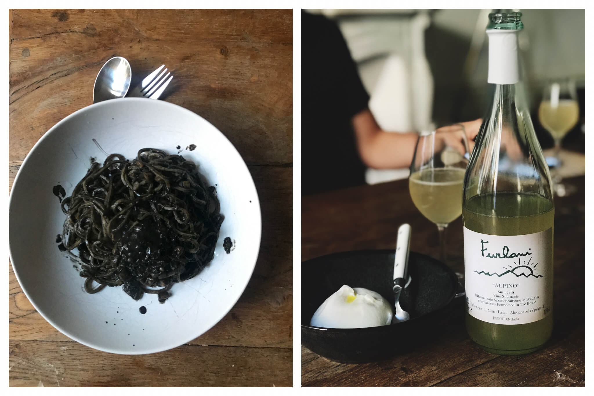 Left: squid ink pasta in a white plate on a timber table. Right: a ball of mozzarella and a bottle of white whine from Passerini.