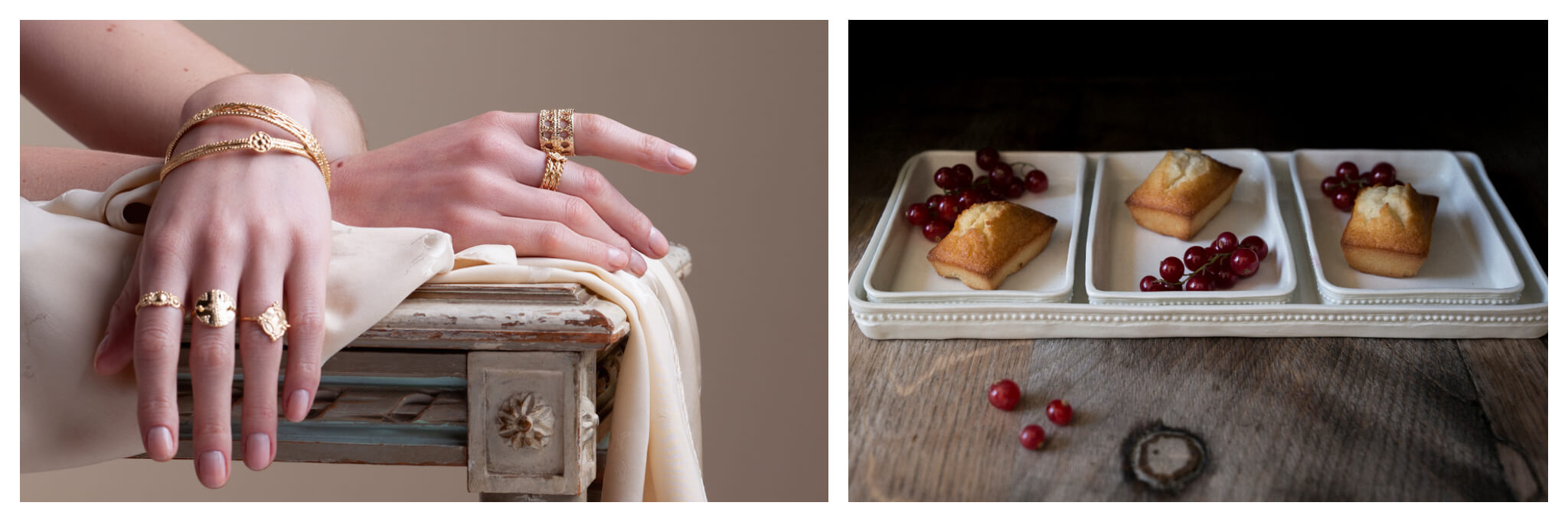 Left: two hands wearing gold rings and bracelets lay atop each other, posed on a table, Right: Grapes and small baked goods sit in white porcelain rectangular bowls atop a wooden table
