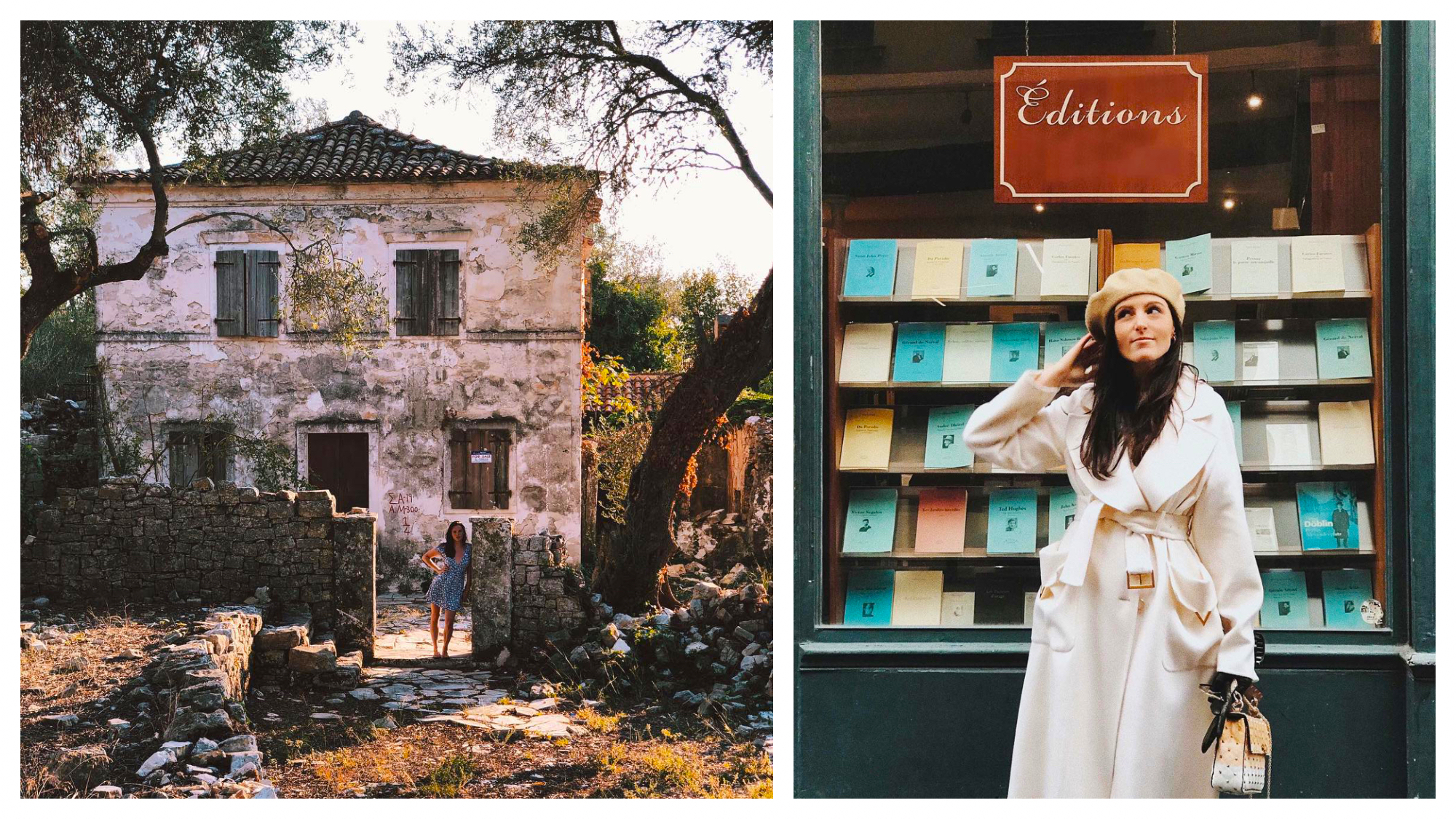 Left: Vanessa Grall, aka Messy Nessy, wears a blue dress and stands in front of an old house in the French countryside, Right: Vanessa Grall, aka Messy Nessy, wears a white coat and off-white hand, standing in front of a display of books in Paris.