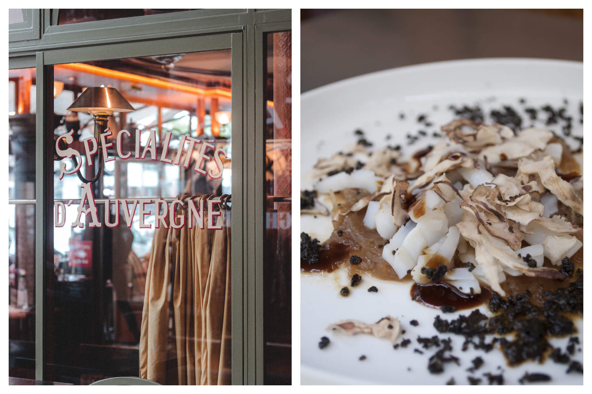 """Left: """"Spécialités d'Auvergne"""" is written in red and white paint on the glass window of a restaurant in Paris, Right: An array of mushrooms, sauces and seasonings lays on a white plate"""