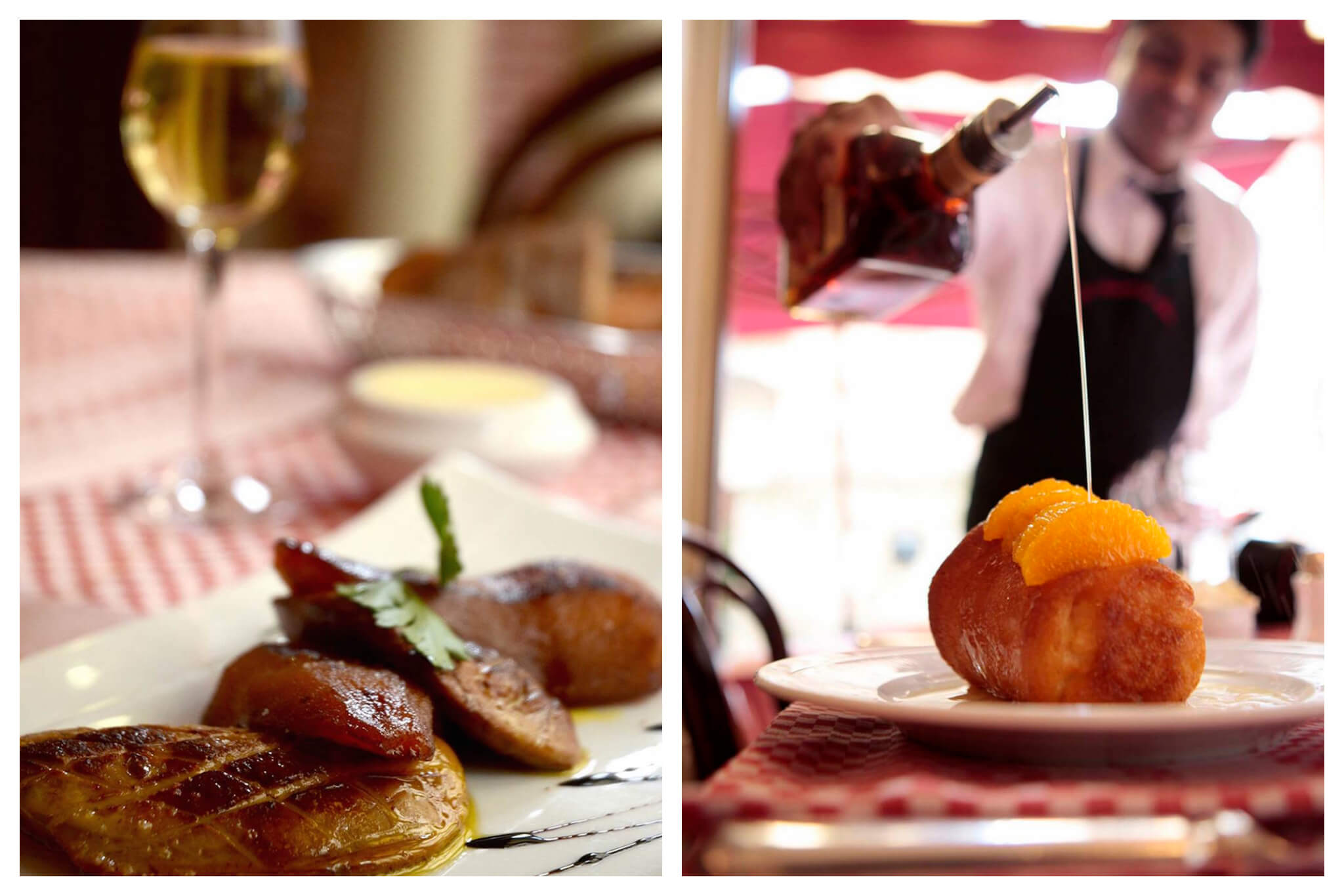 Left: A plate of duck sits in the forefront, with a checkered cloth and glass of white wine in the background, Right: A waiter pours a jar of liquid on a dish at La Fontaine de Mars in Paris