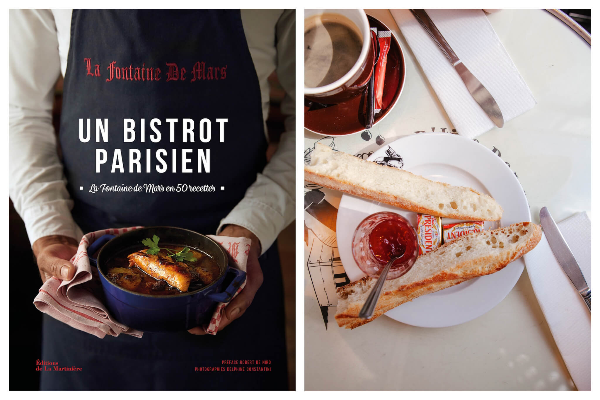 Left: The cover of A Parisian Bistro cookbook, Right: A cup of espresso, sliced baguette, pats of butter and a cup of jam sit atop a white table.