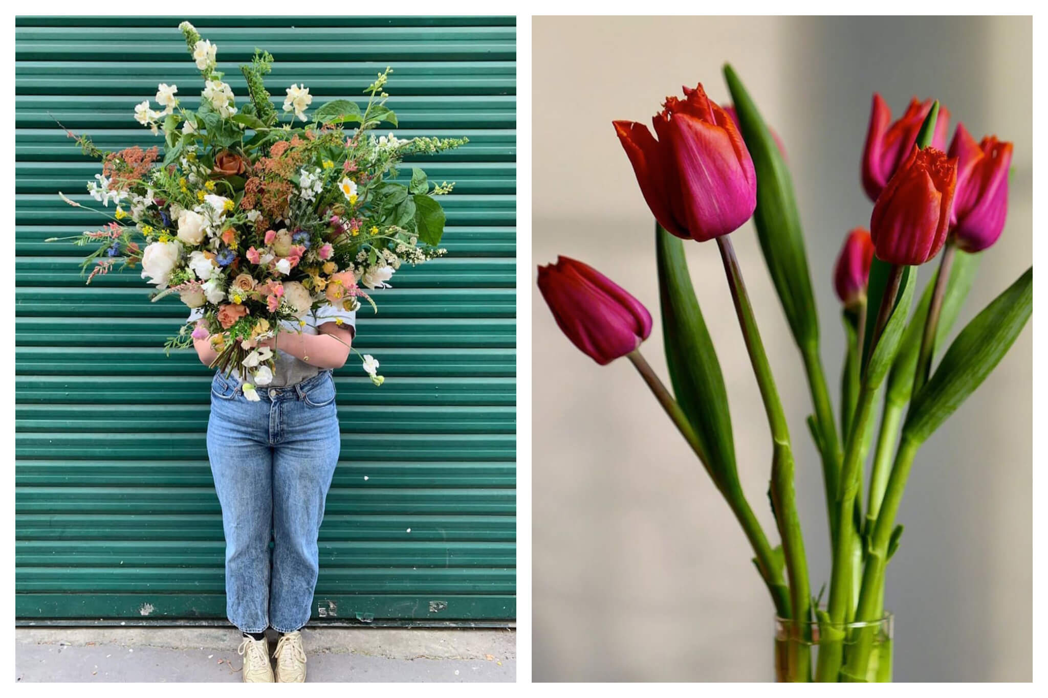 Left: A woman stands in front of a green wall while holding a large, beautiful bouquet of fresh flowers, Right: Beautiful bright pink tulips from Ferme Florale stand up in a clear vase.