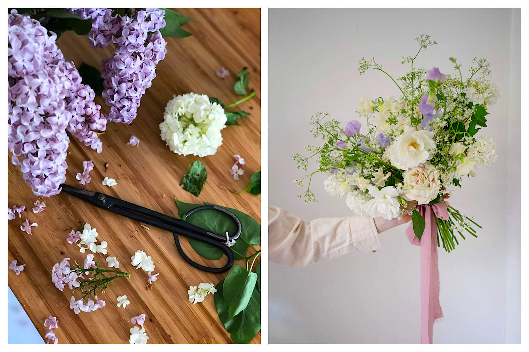 Left: A pair of scissors lays next to stems of purple and white hydrangea's ready to be made into a bouquet at PEONIES, Right: A woman holds a beautiful bouquet of white, purple and green flowers tied with a pink ribbon from PEONIES.