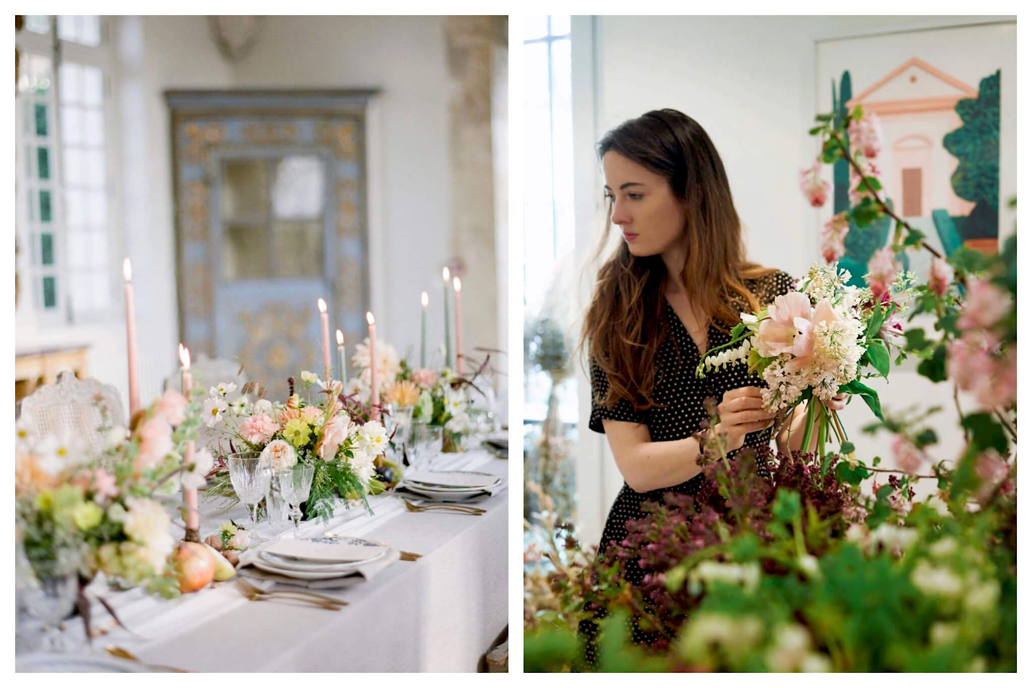 Left: A table is set for a meal, decorated with candles and beautiful fresh flowers from PEONIES, Right: Clémentine Lévy, owner of flower shop and café PEONIES, holds a bouquet of flowers while standing amongst more flowers.