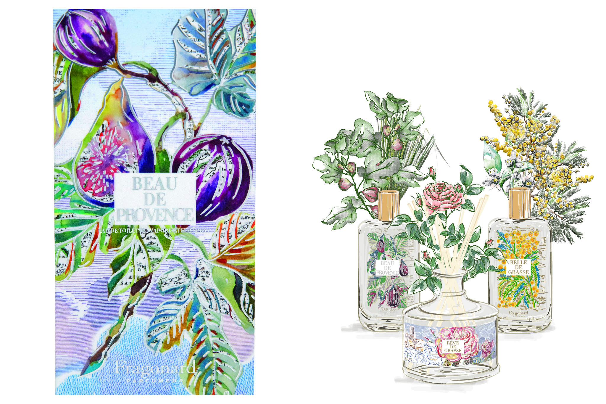 Beautiful colorful artwork displays flowers, plants, and Fragonard products such as Rêve de Grasse and Beau de Provence perfumes