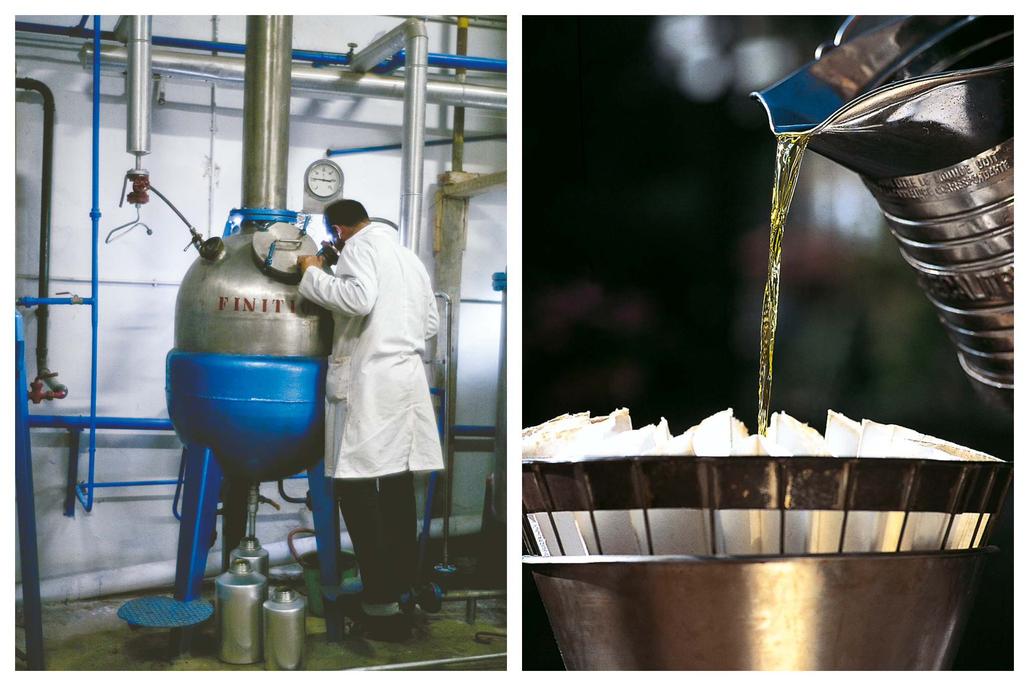 Left: A man in the Fragonard perfume factory works on a machine to extract scents from various flowers and items, Right: Perfume, Bright and golden, is poured into a strainer to be filtered