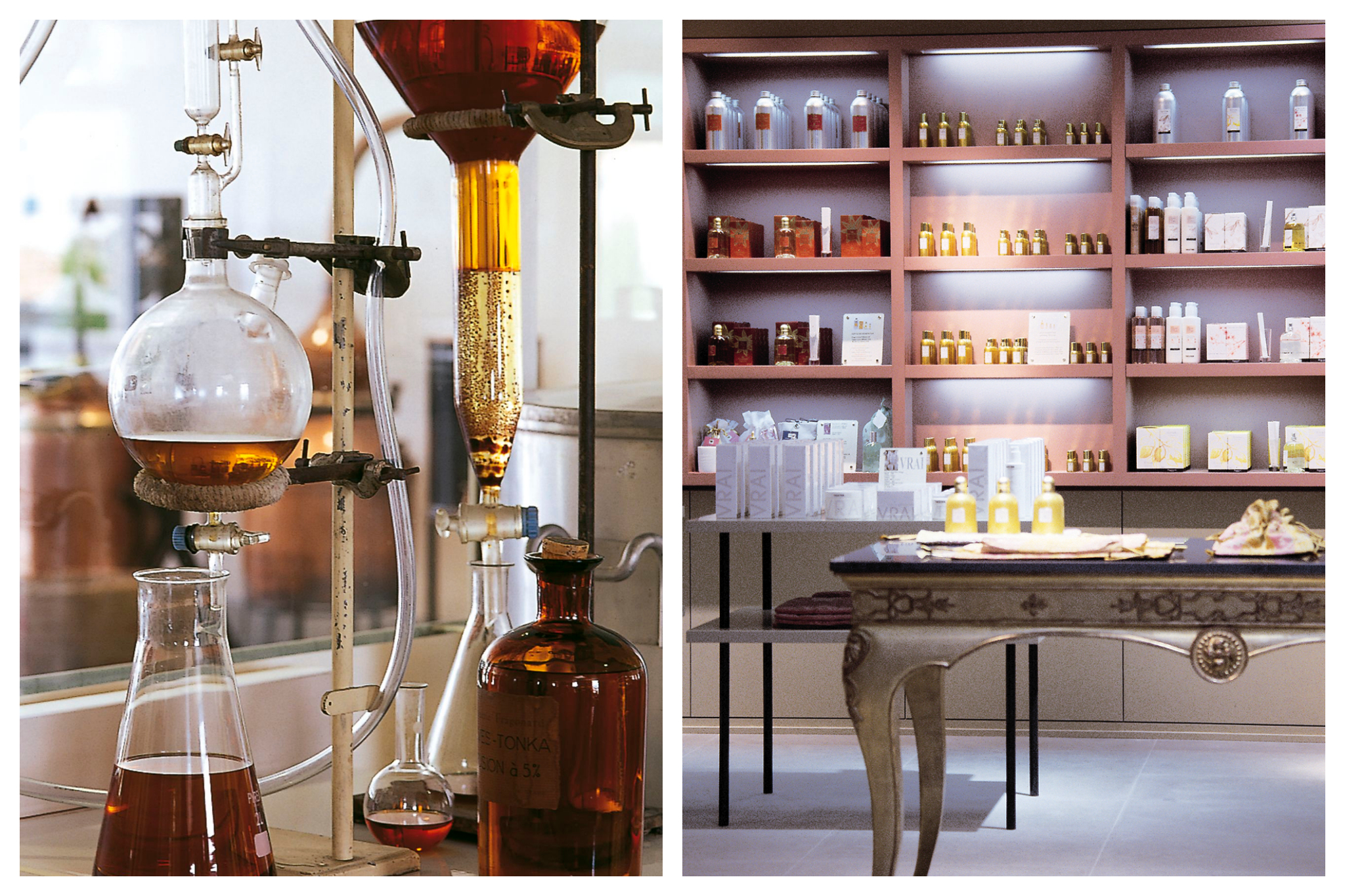Fragrances are distilled in glass beakers in the Fragonard perfume factory, Right: Various Fragonard perfumes and products line the shelves and tables of a Fragonard store