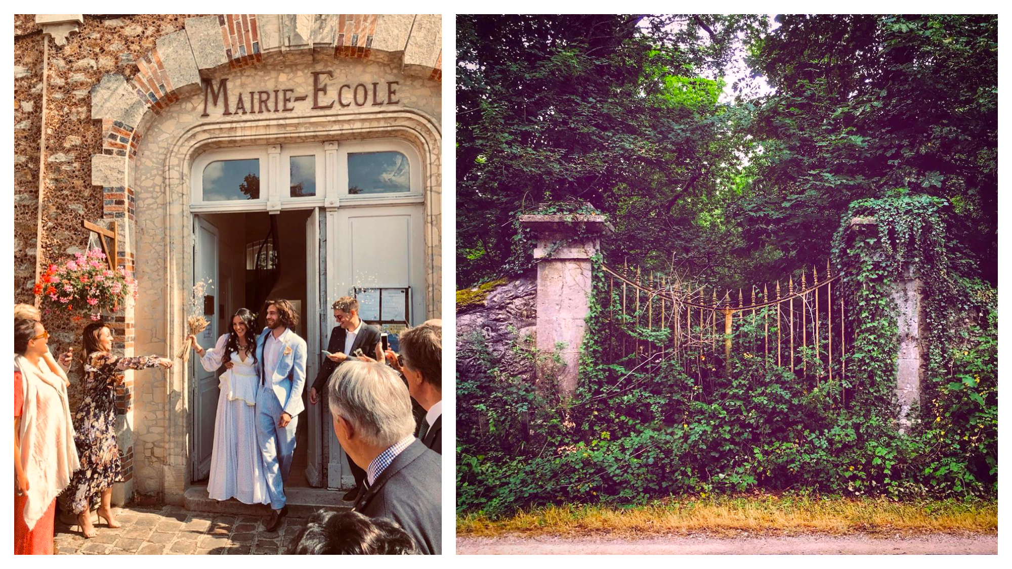 Left: Vanessa Grall, aka Messy Nessy, and her husband at the Mairie on their wedding day, Right: A gate that is overgrown with lush green shrubbery from Messy Nessy's Instagram account