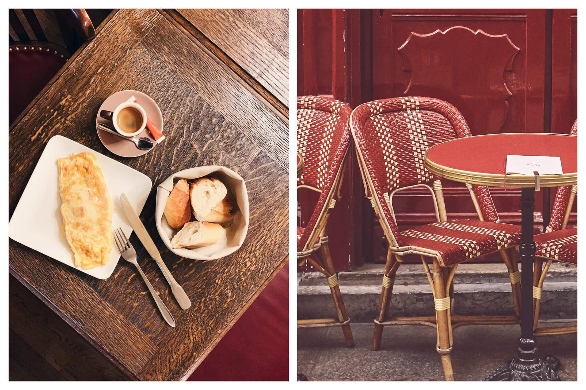 Left: An omelette, espresso and basket of bread sit atop a wooden table at Au Petite Suisse restaurant in Paris, Right: A red table and chairs sit in front of a red wall on a Parisian terrasse