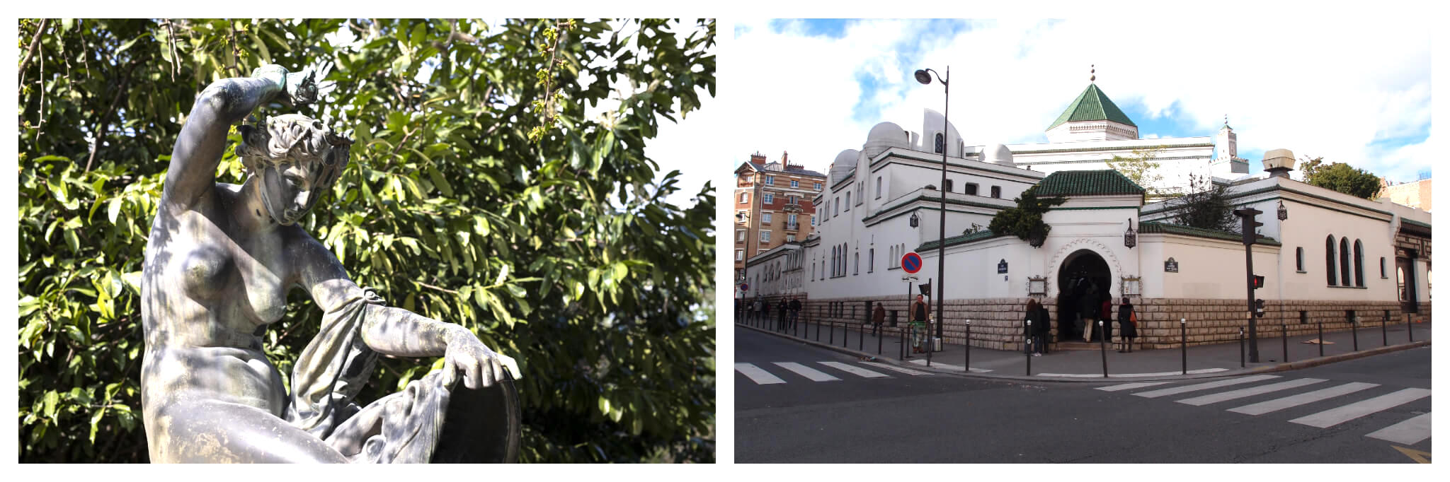 Left: A stone statue of a person with the shadows of leaves on it on a sunny day in the Jardin de Plantes in Paris, Right: The front of the Grande Mosquée de Paris on a sunny day