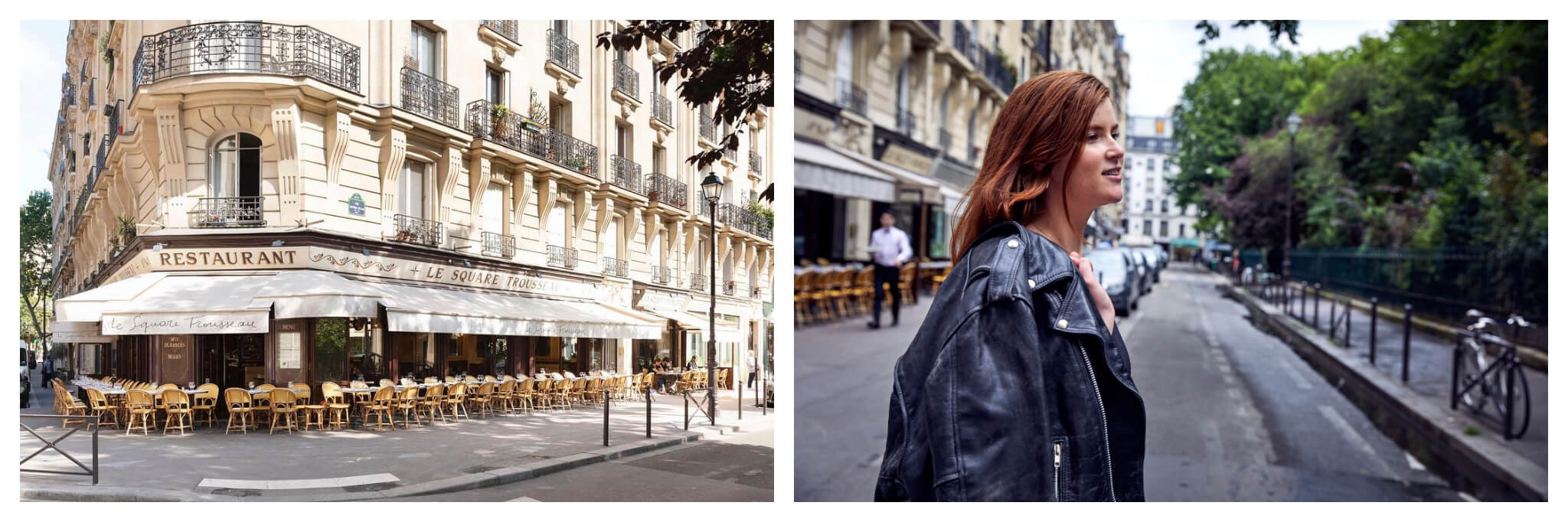 Left: Restaurant Square Trousseau near Square Trousseau in Paris on a sunny summer day, Right: A woman walks on the street next to Square Trousseau in Paris