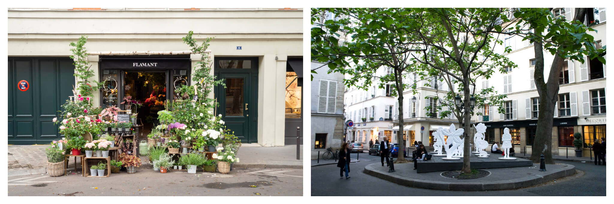 Left: A flower shop on the street in Paris' left bank near Square Paul-Langevin, right: Square Paul-Langevin on a spring day in Paris, with green leaves in the trees and people walking on the streets.