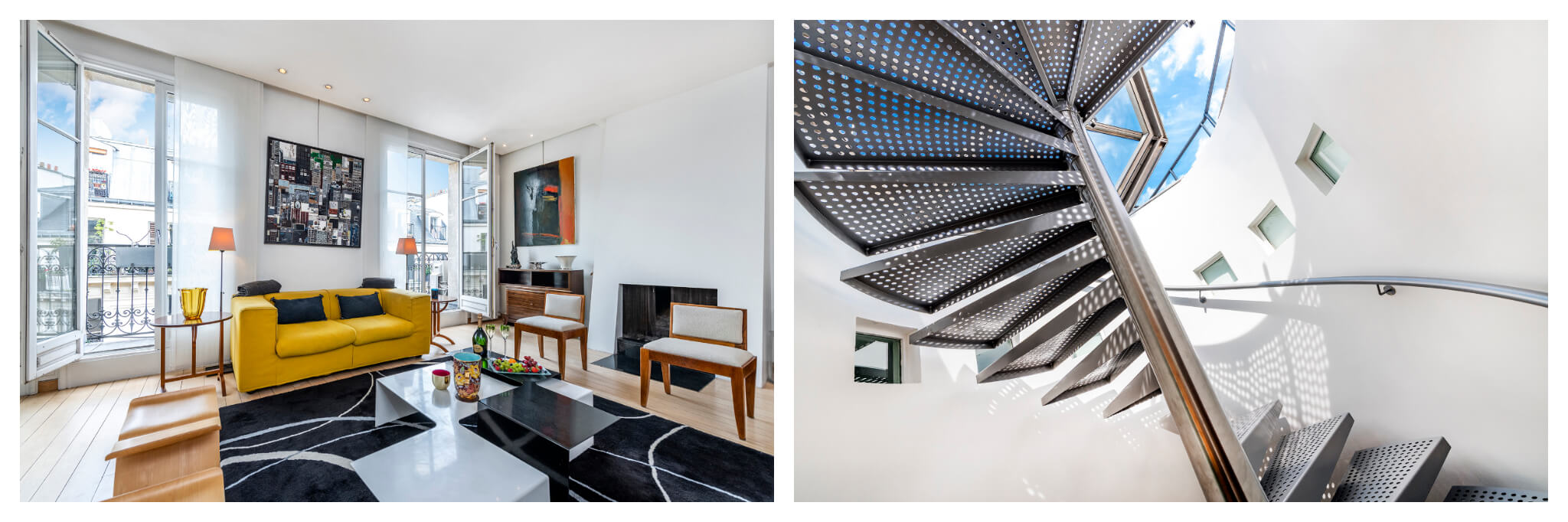 Left: The beautiful living room of the Haven In Marais Penthouse apartment, with large windows and a selection of tasteful furniture, Right: The stairway leading to the skylight which accesses rooftop deck of the Marais Penthouse apartment