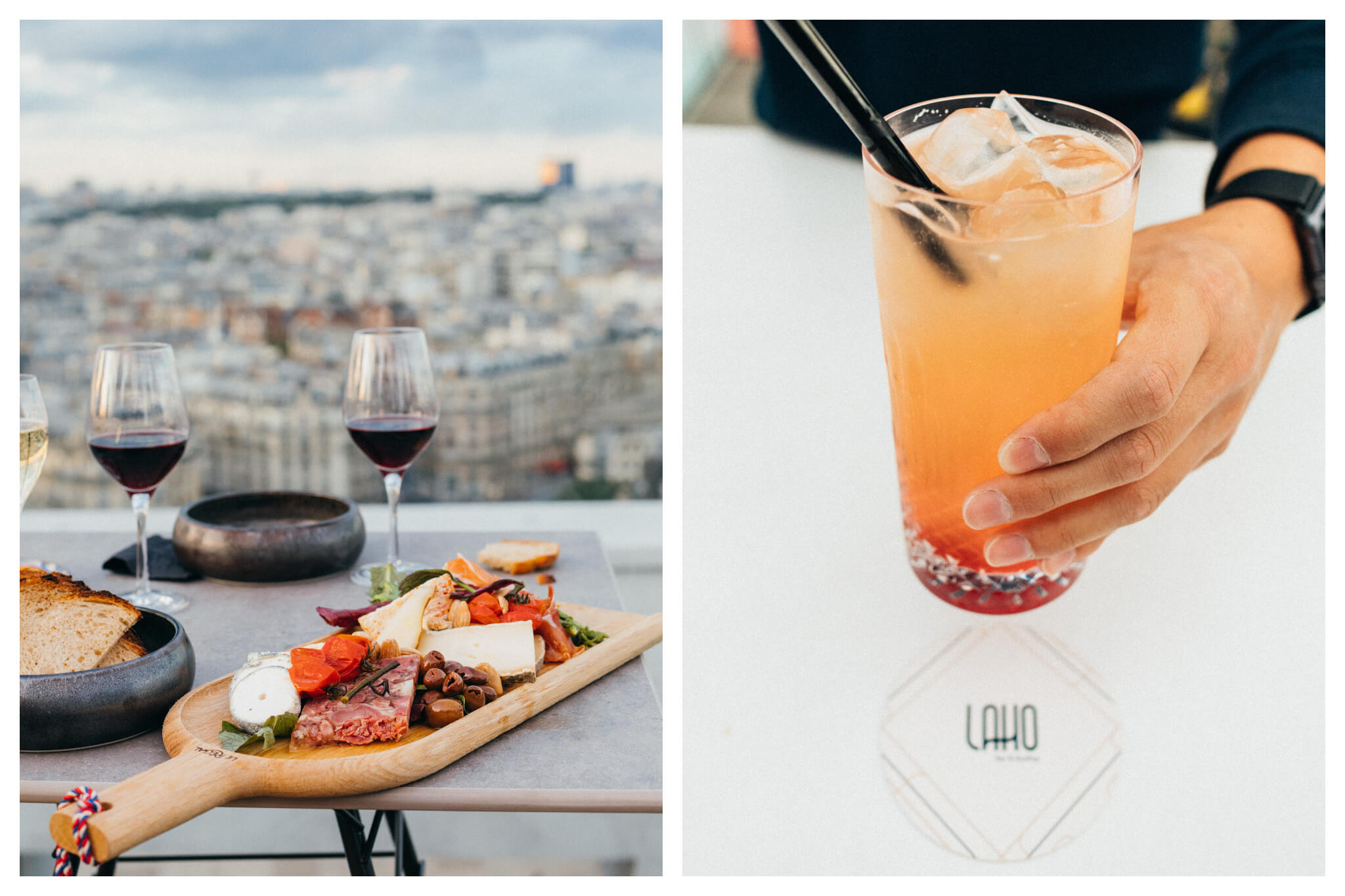 Left: a platter of cheese and charcuterie sitting on a table with two glasses of red wine behind it and a bowl of bread to the left. In the background is a view of the Parisian rooftops. Right: an orange coloured cocktail with some red at the bottom, ice and a straw, held by the bartender's hand. Underneath the glass is the logo of the bar and its name, Laho.