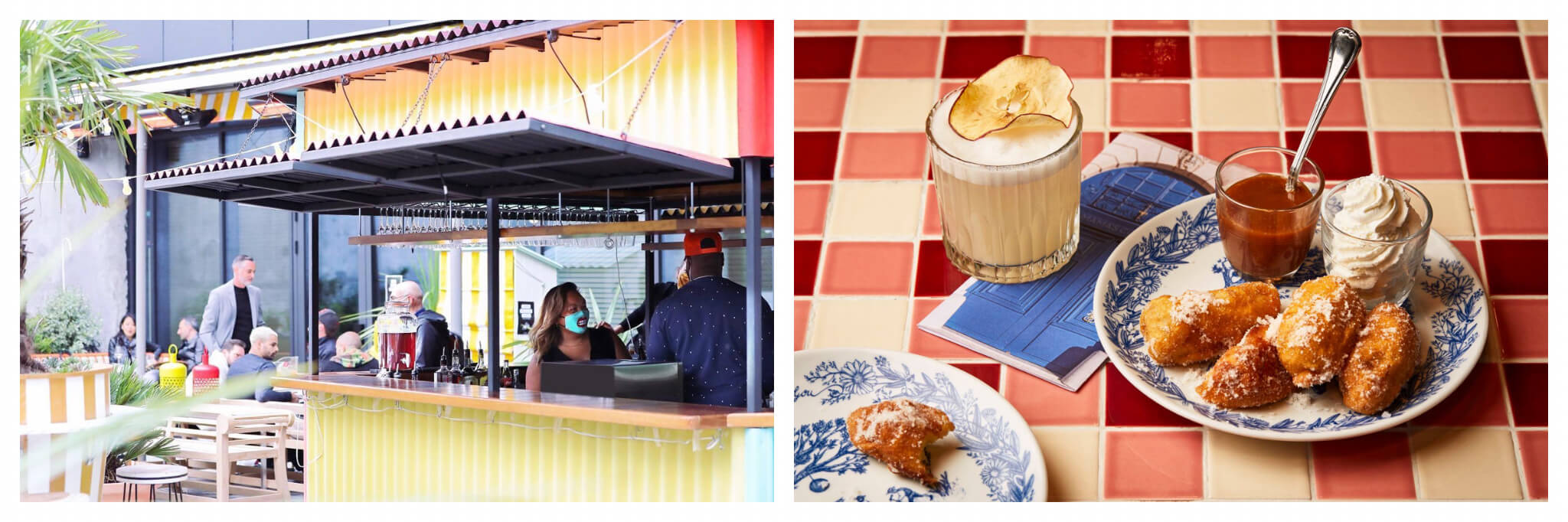 Left: the bar on the terrace of the hotel Mama Shelter West in Paris. It's a yellow container bar, with two bartenders, a man and a woman, inside wearing face masks. There are some people seated and standing outside. Right: a plate of churros with chocolate and ice cream next to a pale yellow colored cocktail, sitting on cream and red tiles.