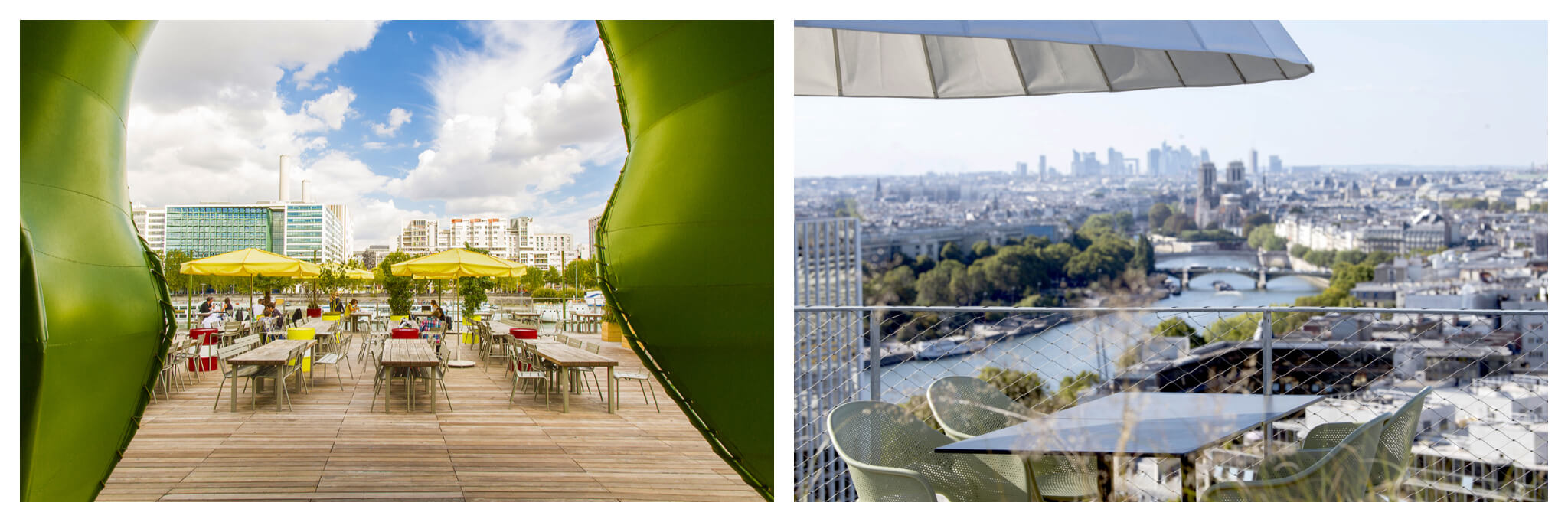 Left: the image is framed by a green, curved archway. It is the wooden terrace of Wanderlust Street Food. There are wooden tables and yellow umbrellas. You can see modern Paris buildings in the background. Right: A table and four chairs on a rooftop, underneath an umbrella, with a view of the Seine and Paris in the background. You can see La Defense in the distance.