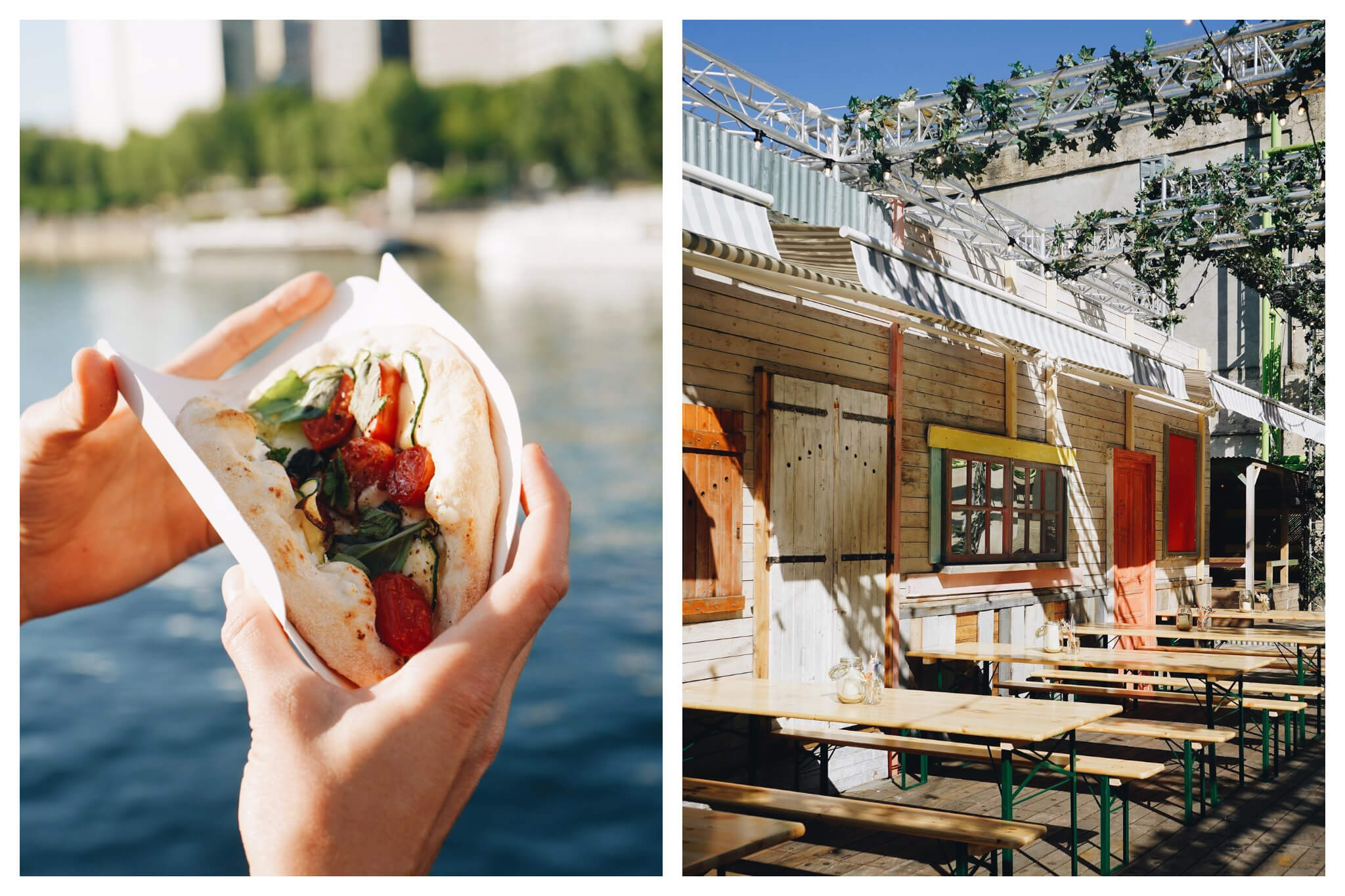 Left: a person's hands holding a pita bread stuffed with tomatoes and basil with the Seine in the background. Right: the wooden terrace with wooden bench seats at Wanderlust Street Food, a bar in Paris.
