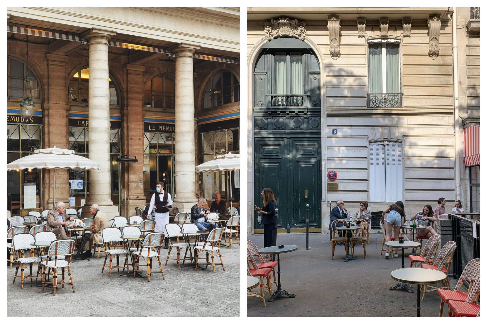 Left: A waiter, wearing a mask, serves people sitting distanced at outdoor seating on a Parisian terrace, Right: People socially distance while sitting on spaced out outdoor seating on a terrace in Paris.