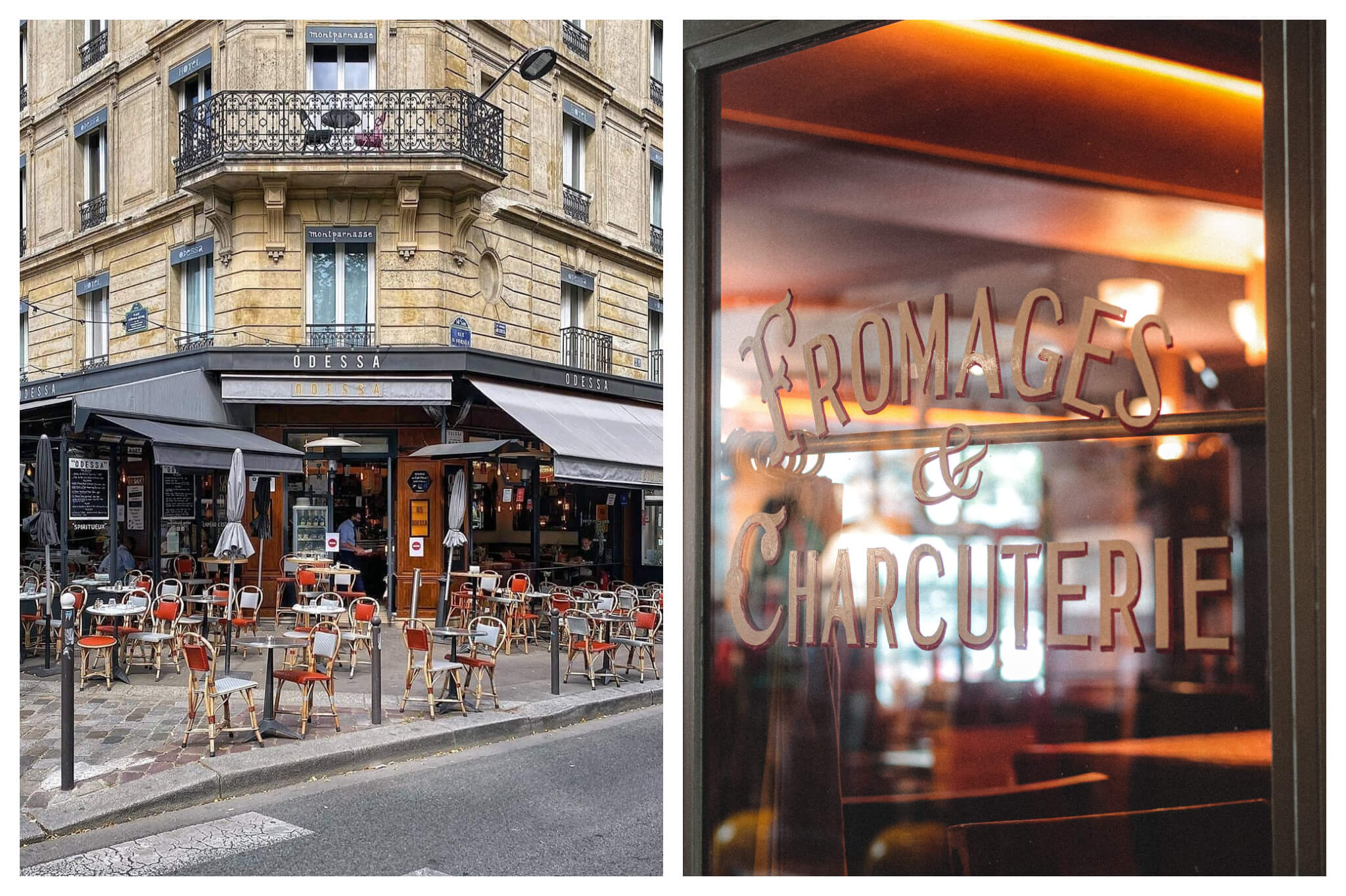 "Left: Tables and chairs sit outside a restaurant in Paris to accommodate the new COVID-safe ways of eating, Right: ""Fromages & Charcuterie"" are painted on the window on the front of a restaurant"