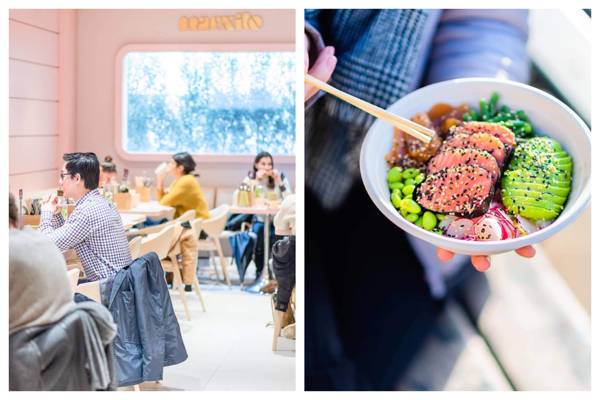 Left: The inside of Marxito restaurant near the Champs Elysées in Paris. The walls are a light baby pink, and people are seated for lunch at tables in the restaurant, Right: A poké bowl at Marxito, which includes salmon, avocado, edamame, radish, and various other produce items.